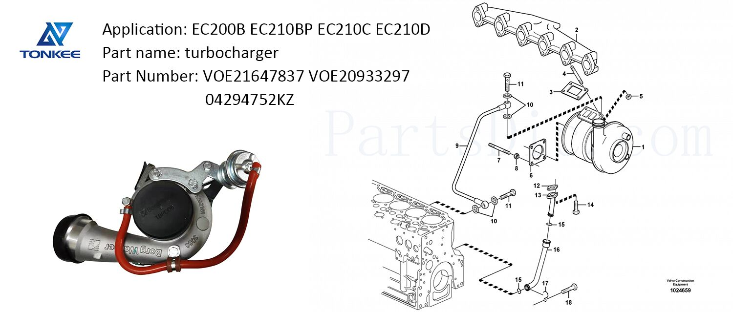 VOE21647837 VOE20933297 diesel engine turbo 04294752KZ turbocharger EC200B EC210BP EC210C EC210D D6E D5D diesel engine turbo for VOLVO excavator
