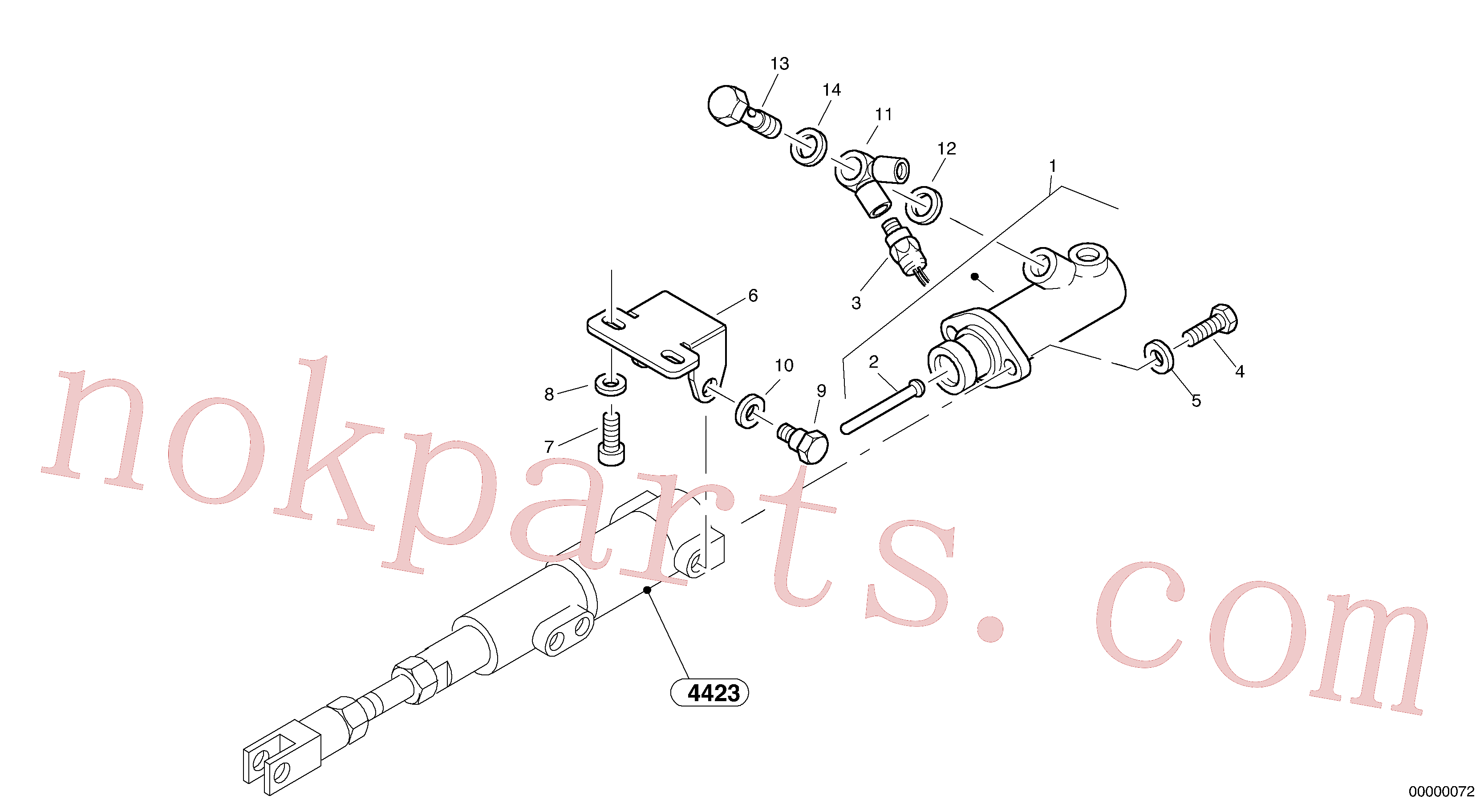 VOE7011994 for Volvo Brake cylinder(00000072 assembly)