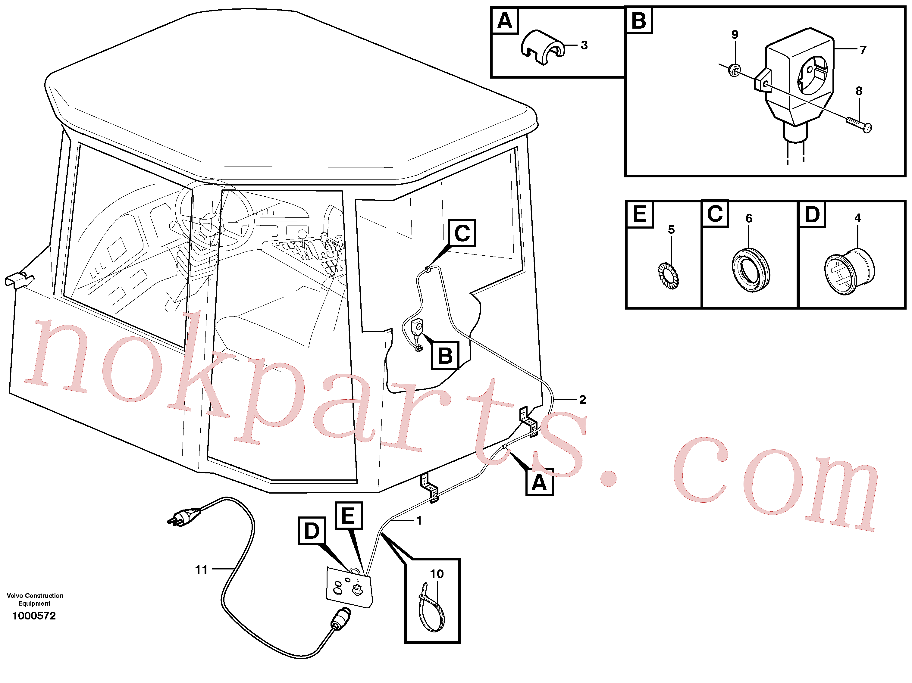 VOE955948 for Volvo Heater outlet(1000572 assembly)