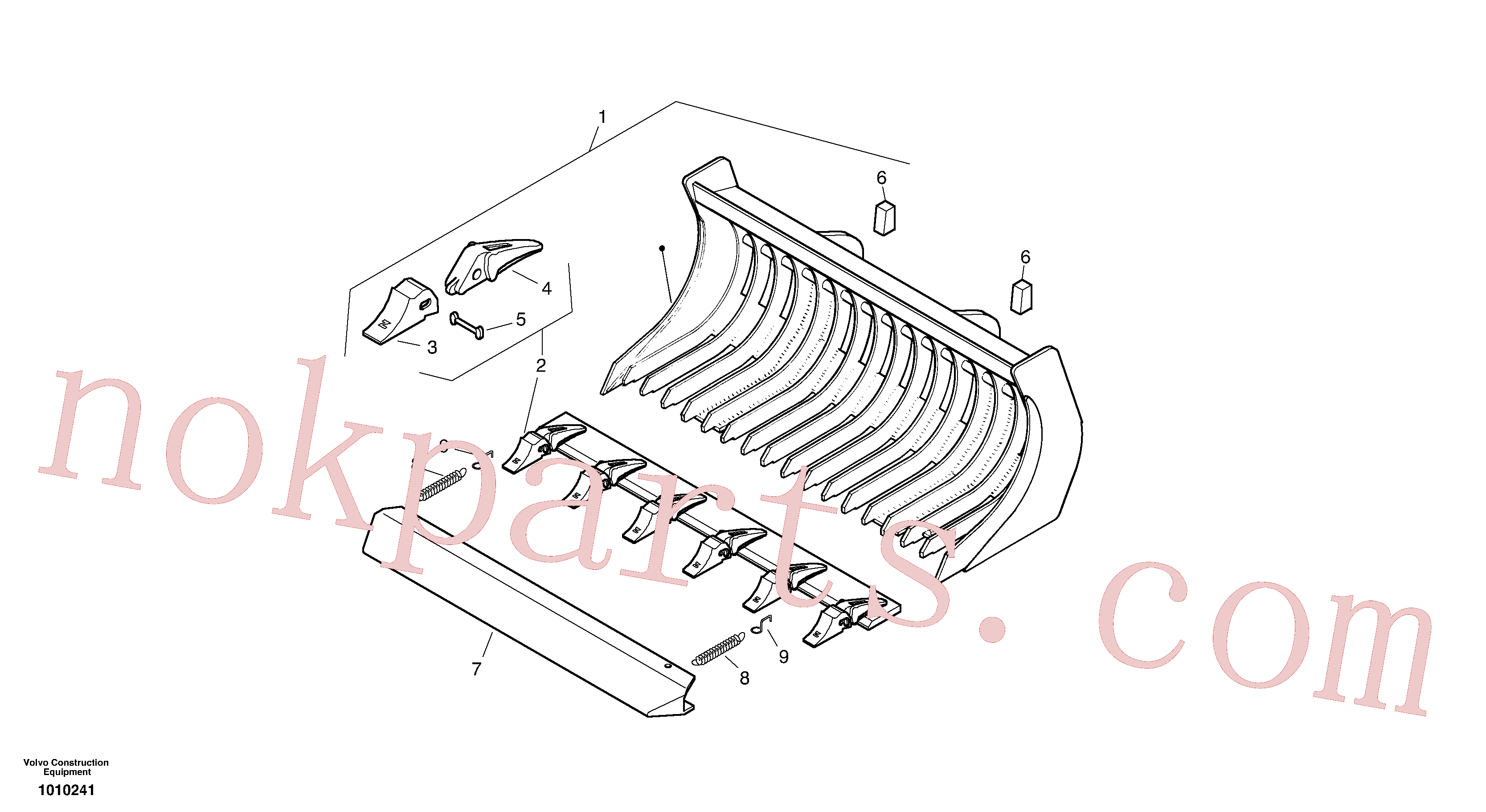 ZM2800351 for Volvo Bucket with teeth(1010241 assembly)