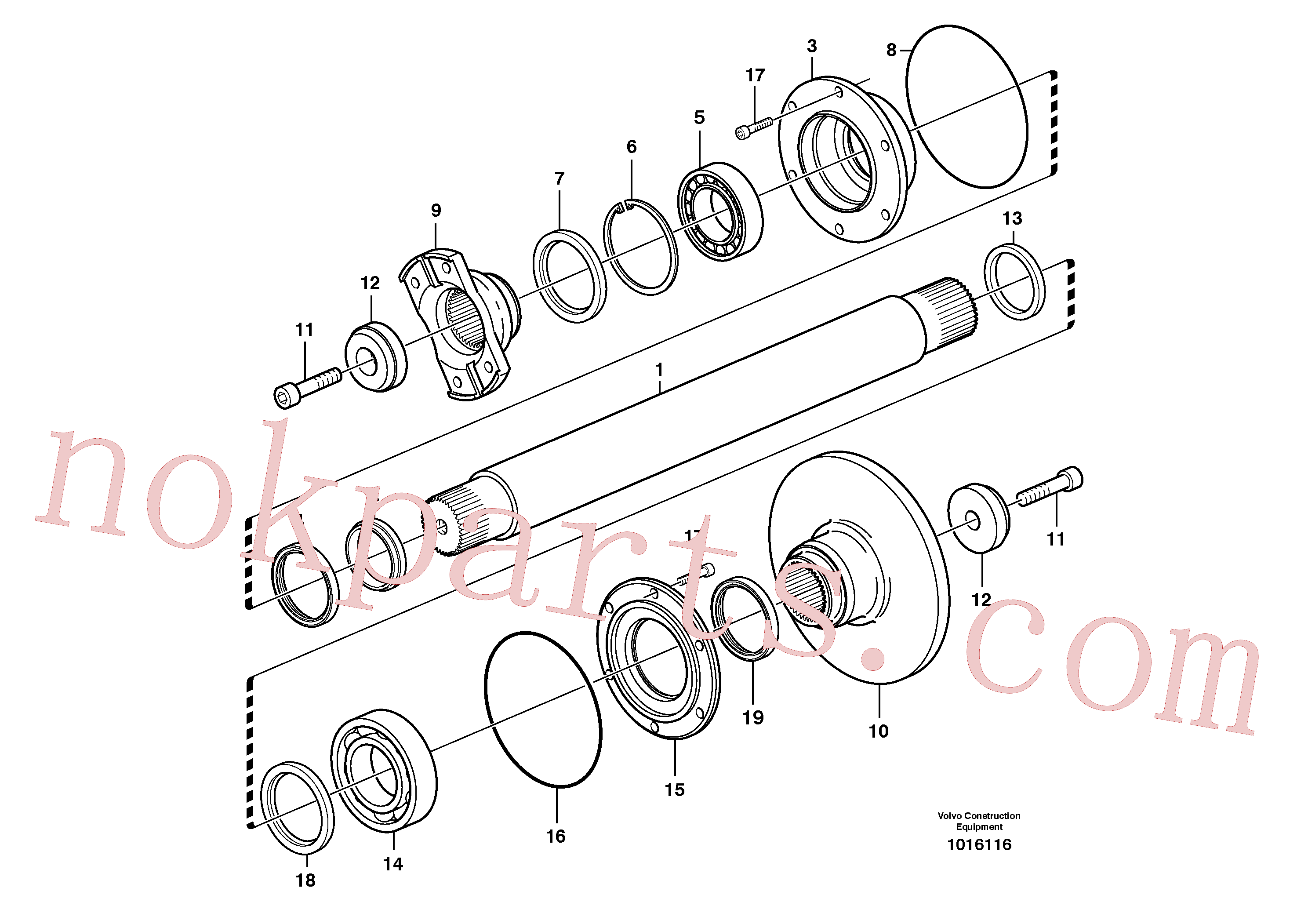 VOE965873 for Volvo Intermediate shaft(1016116 assembly)