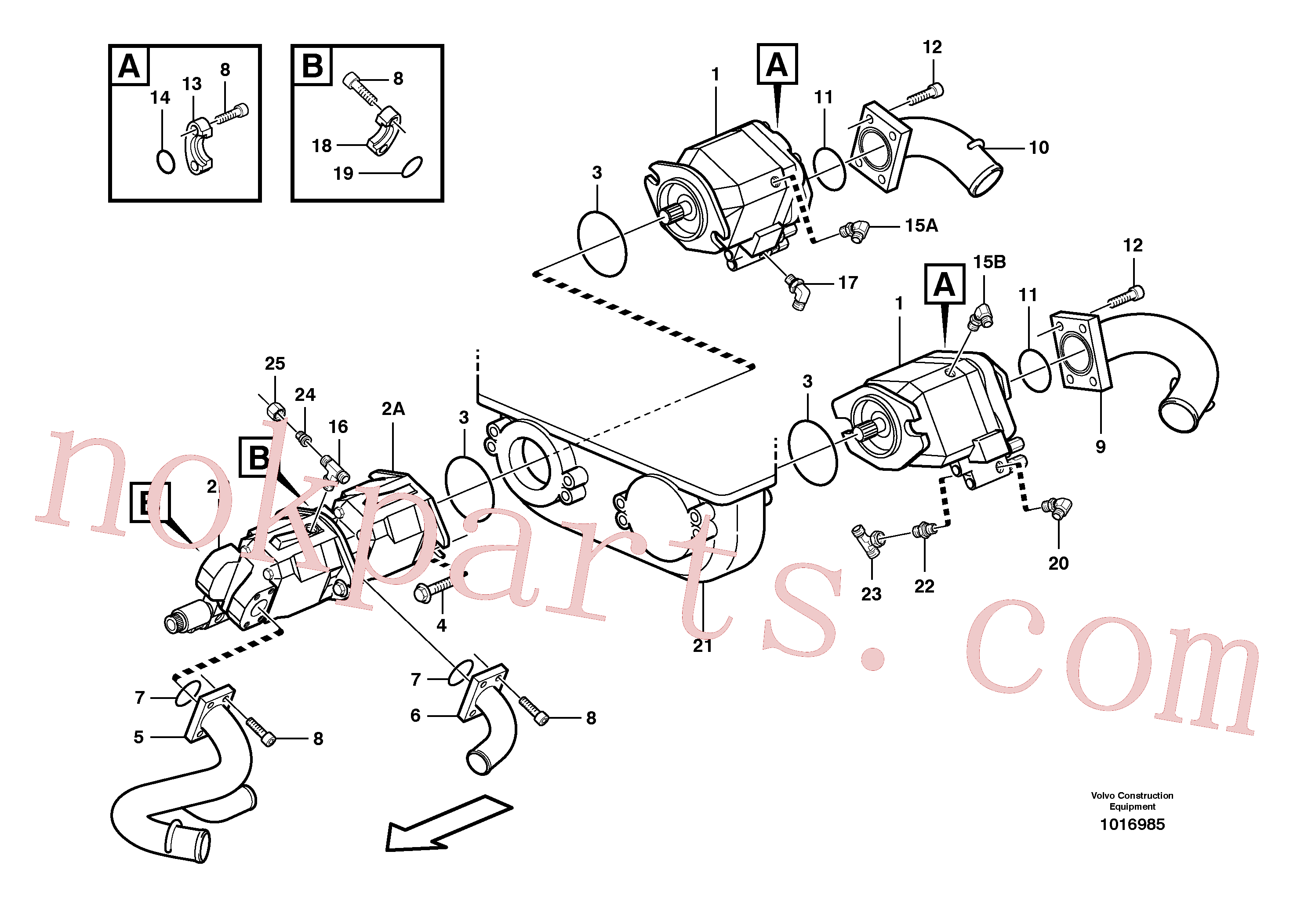 VOE935082 for Volvo Hydraulic pump with fitting parts(1016985 assembly)