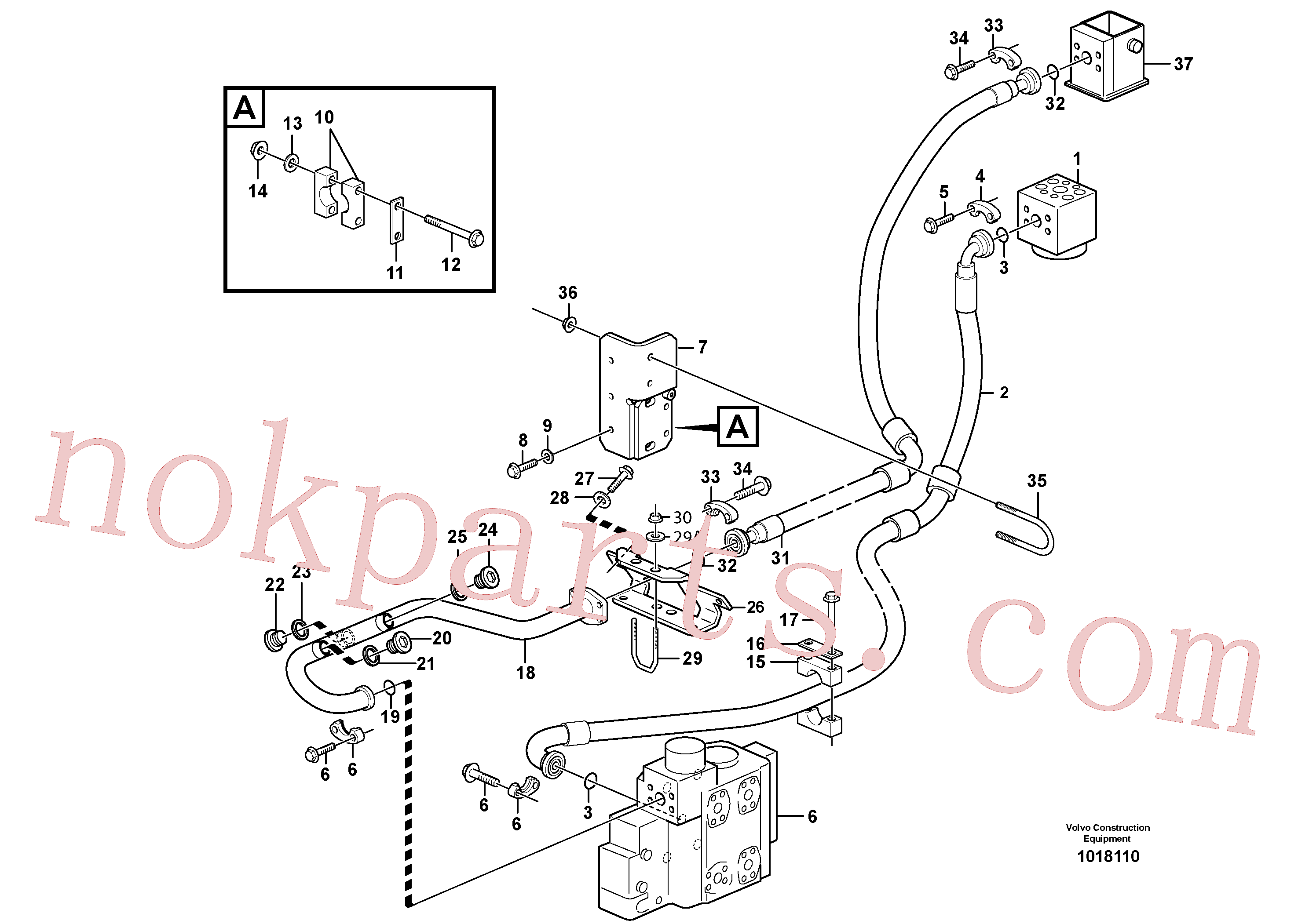 VOE948885 for Volvo Feed- and return lines - control valve(1018110 assembly)