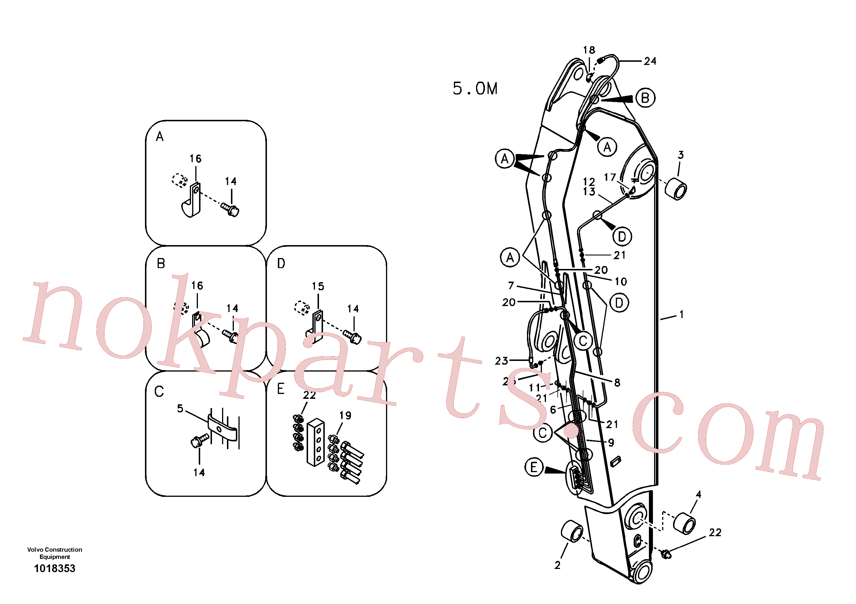 VOE14507547 for Volvo Dipper arm and grease piping with piping seat, long reach(1018353 assembly)