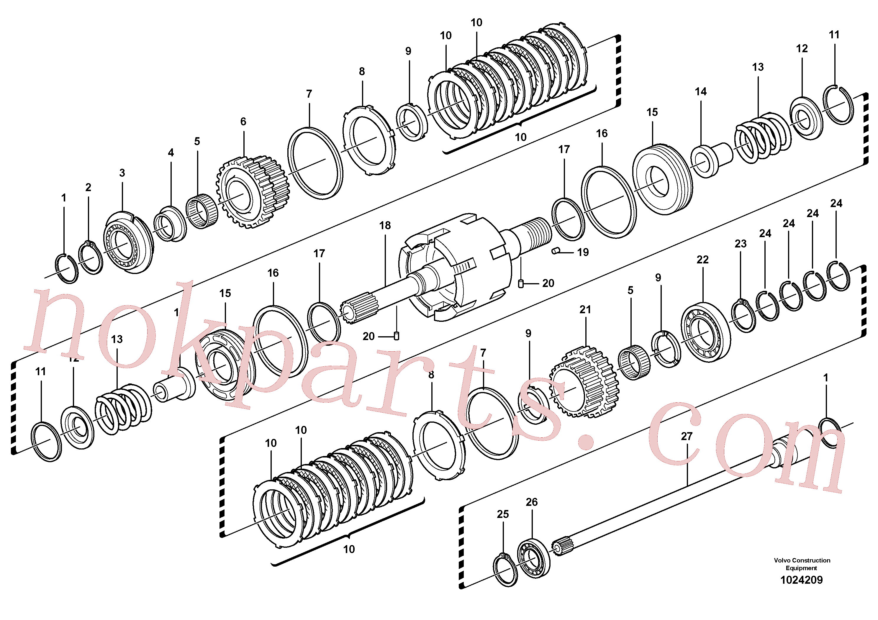 VOE11712469 for Volvo Clutch shaft forward/reverse(1024209 assembly)