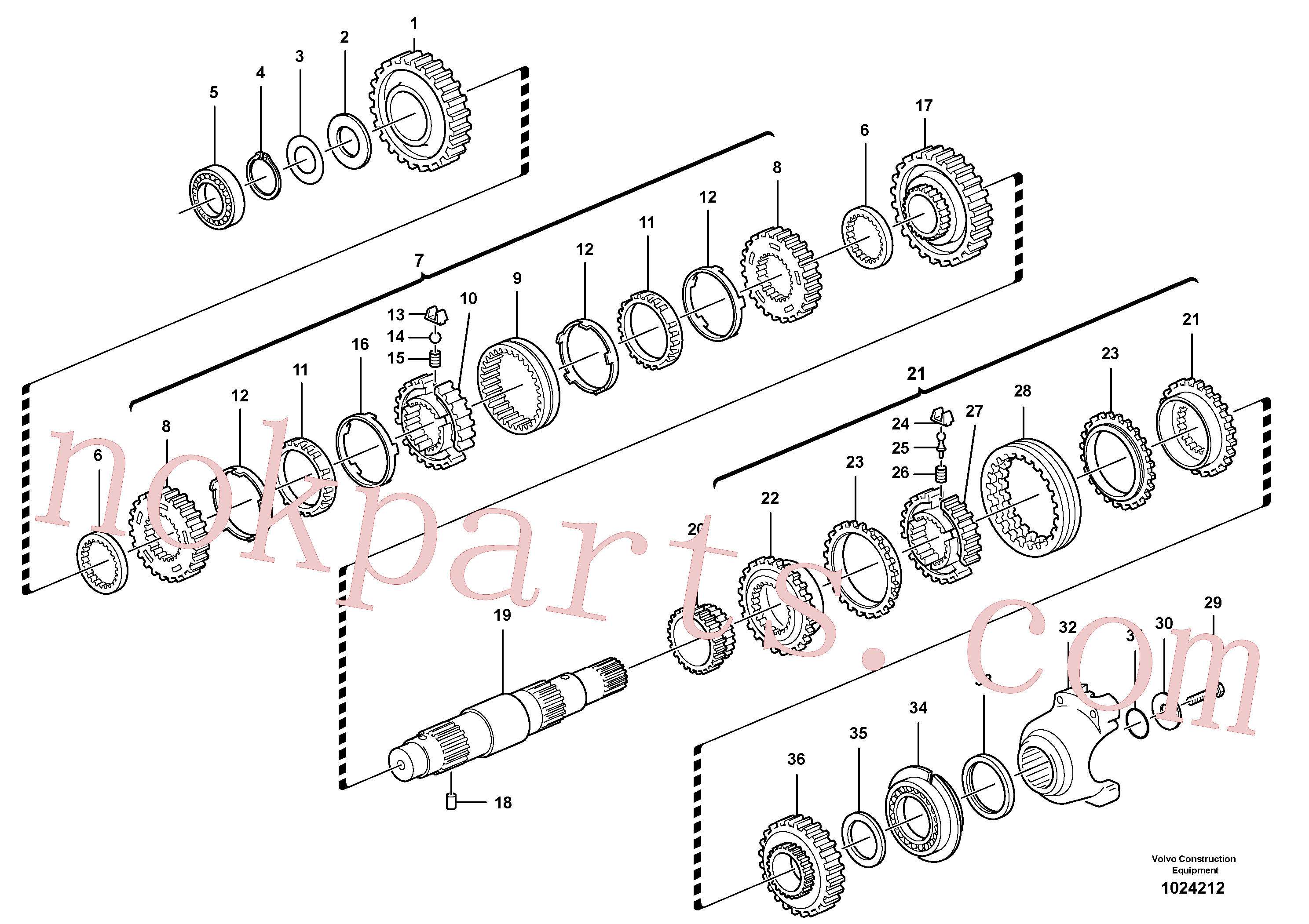 VOE11709130 for Volvo Secondary shaft(1024212 assembly)