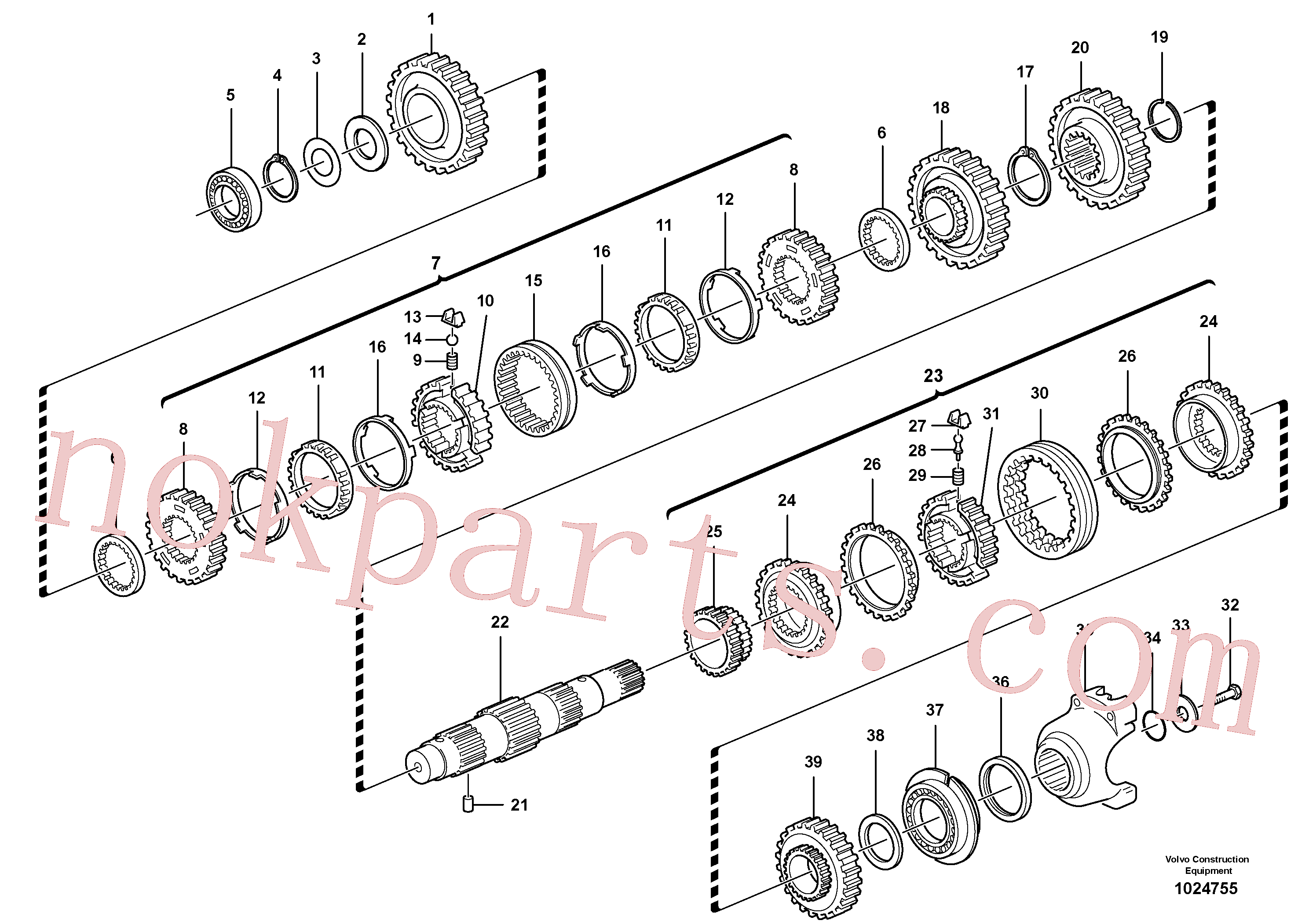 VOE11709130 for Volvo Secondary shaft(1024755 assembly)