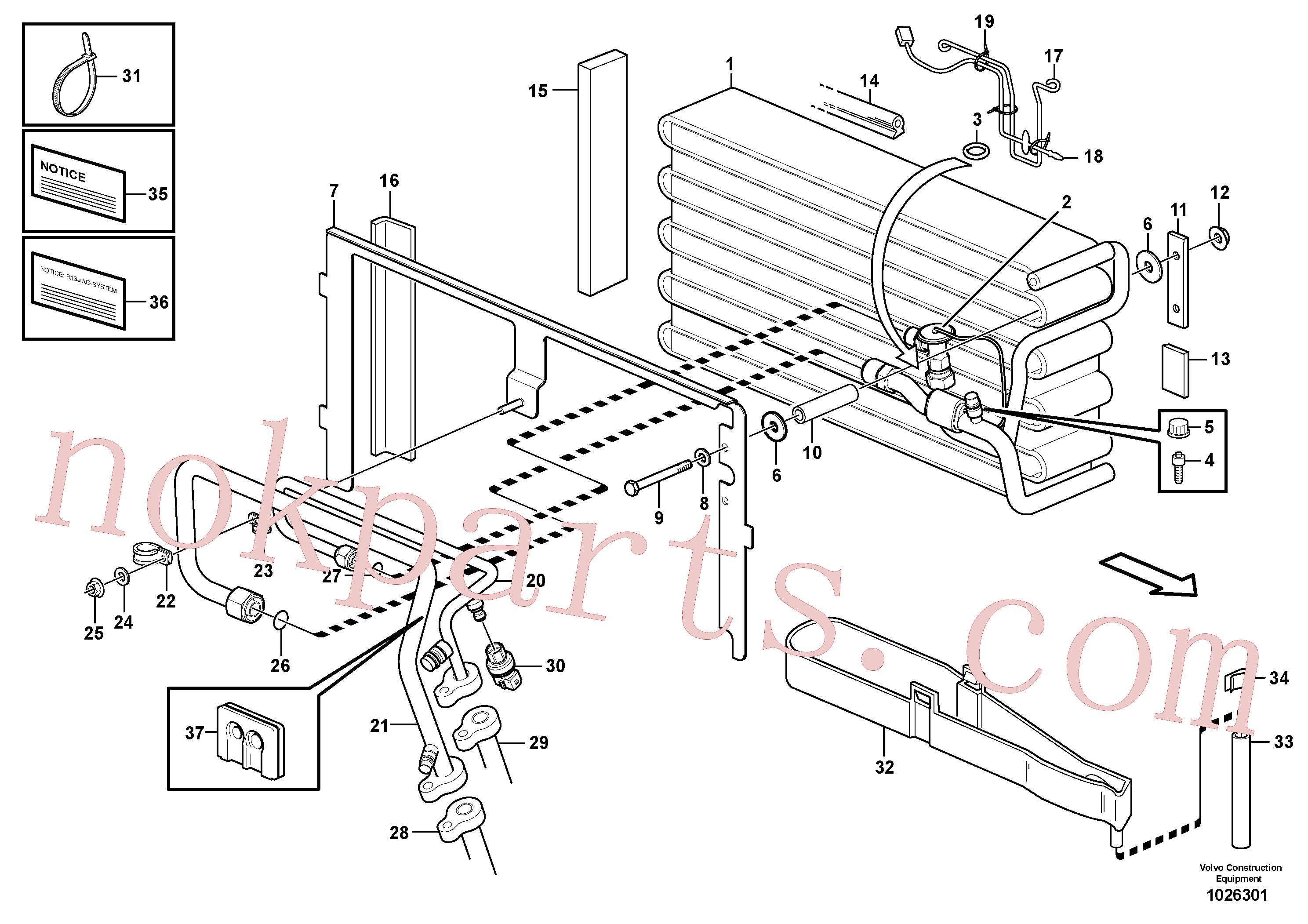 VOE14216276 for Volvo Evaporator for cooling agent R134a with fitting parts.(1026301 assembly)