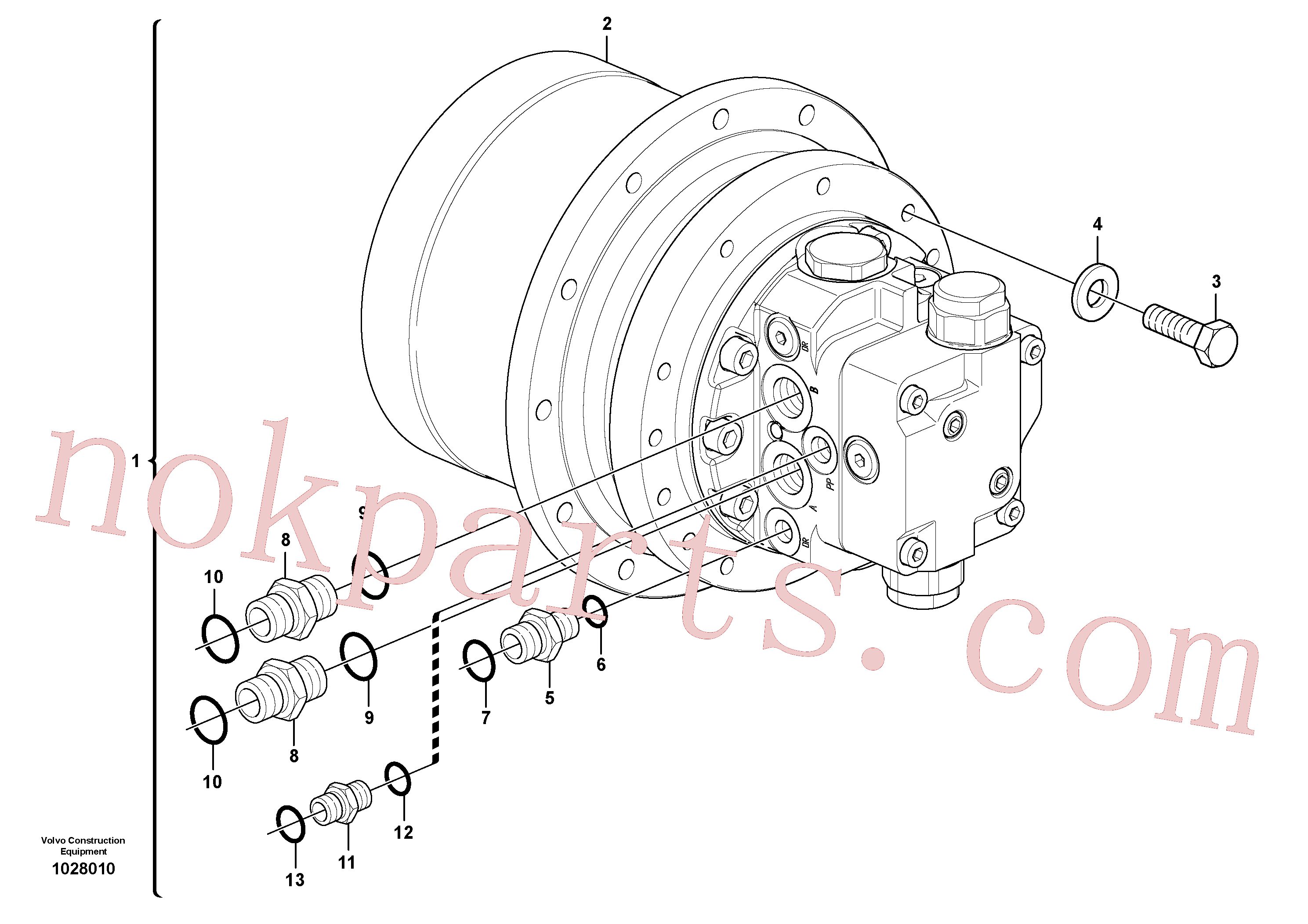 VOE11808684 for Volvo Travel motor with mounting parts(1028010 assembly)