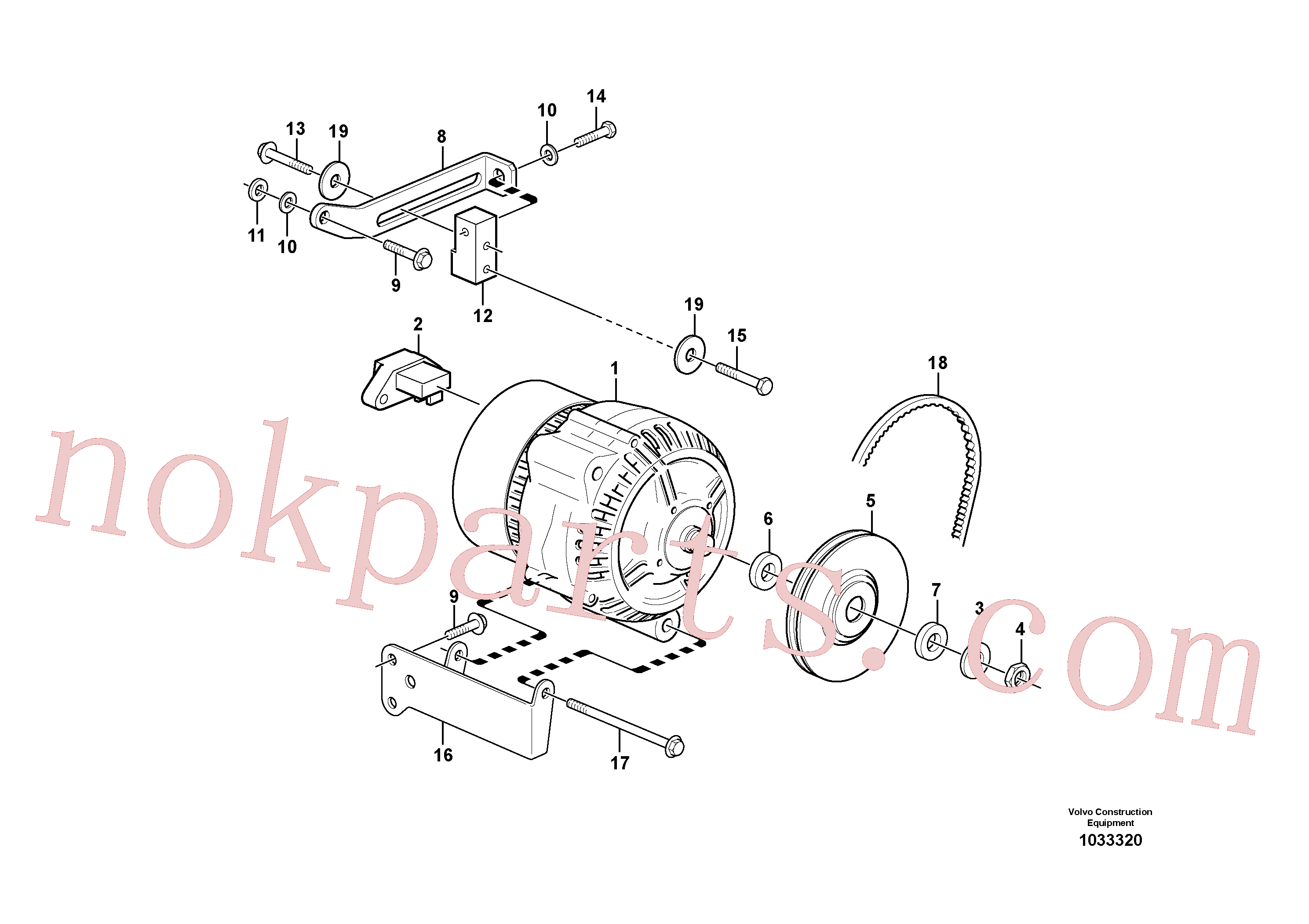 VOE17228475 for Volvo Alternator with assembling details(1033320 assembly)