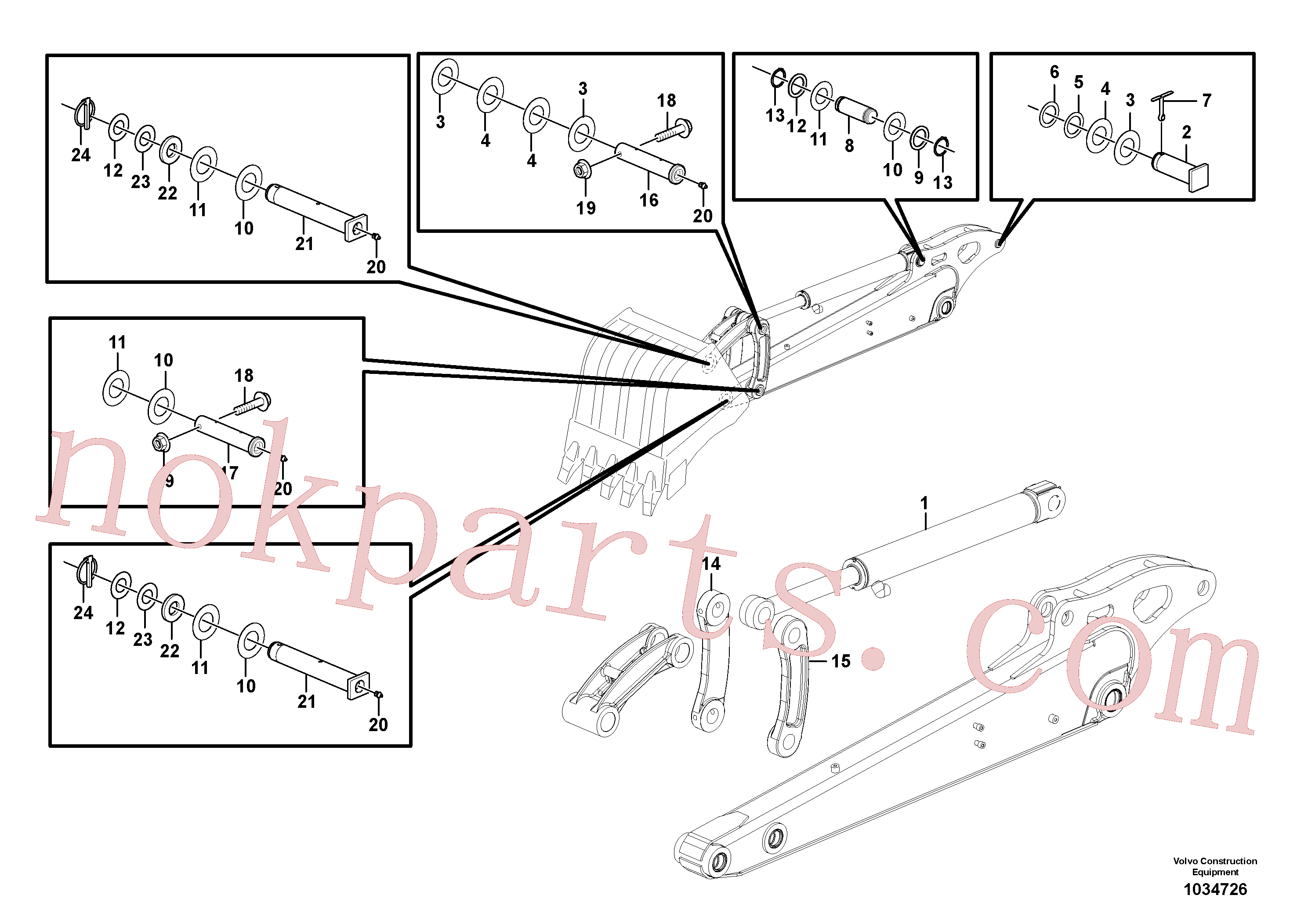 PJ5540111 for Volvo Dipper arm(1034726 assembly)
