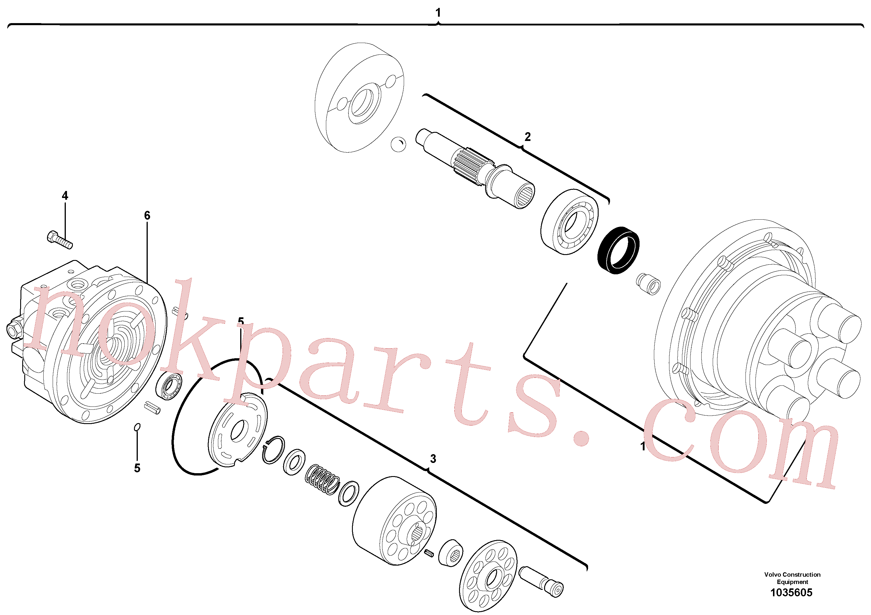 VOE15013478 for Volvo Travelling gear motor assy / without brake(1035605 assembly)