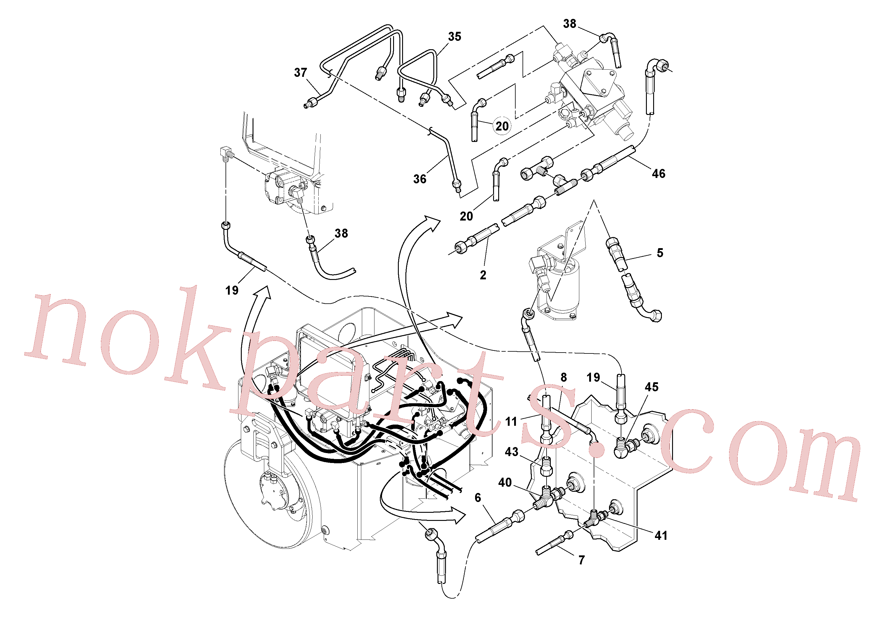 RM54462726 for Volvo Hydraulic Hoses/Tube Clamp Installation(1036315 assembly)