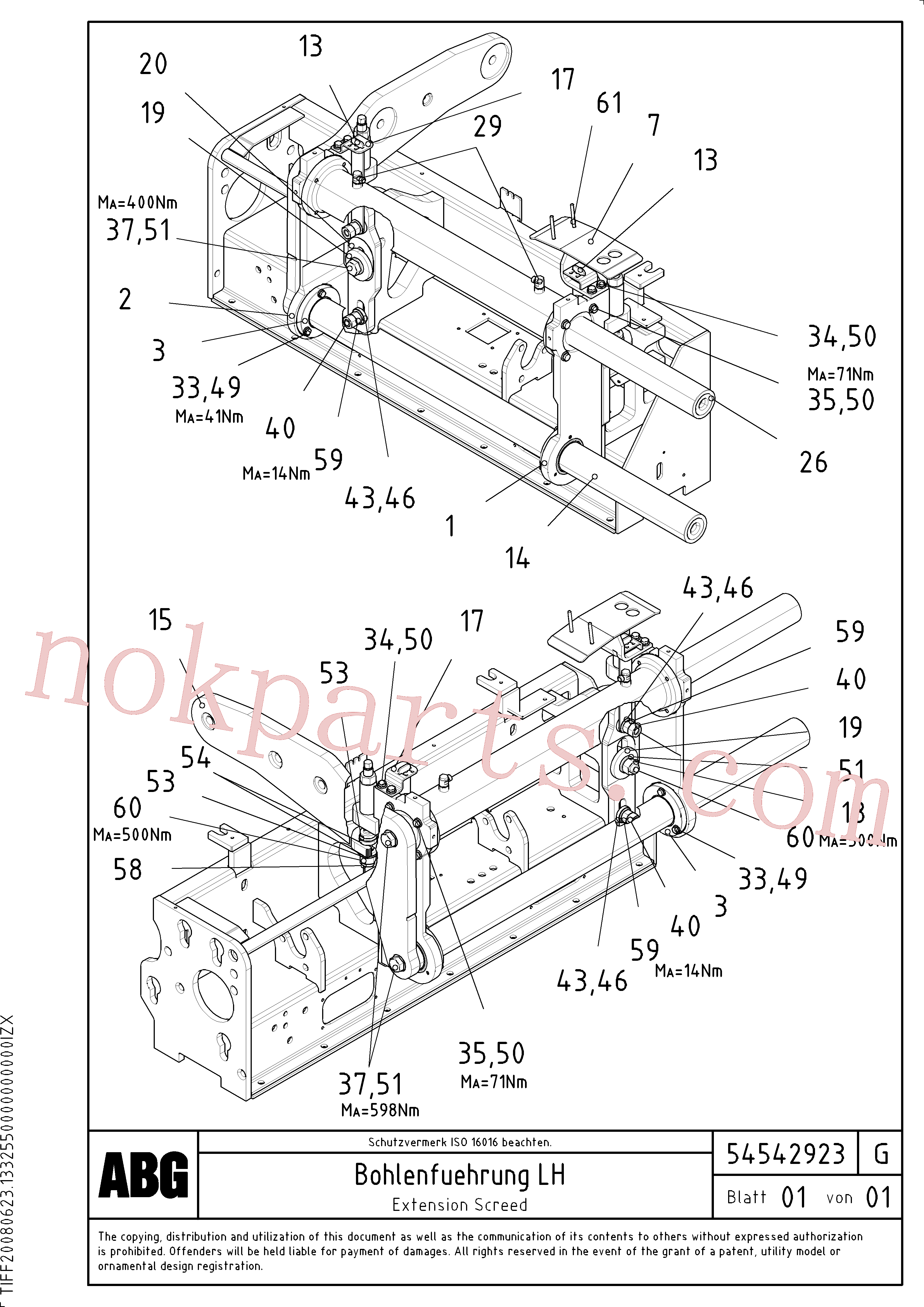 RM96702667 for Volvo Extendable screed, Extension screed, Screed guide for extendable screed, Extension with mechanical holder, bushing and synchronizing cylinder(1046698 assembly)