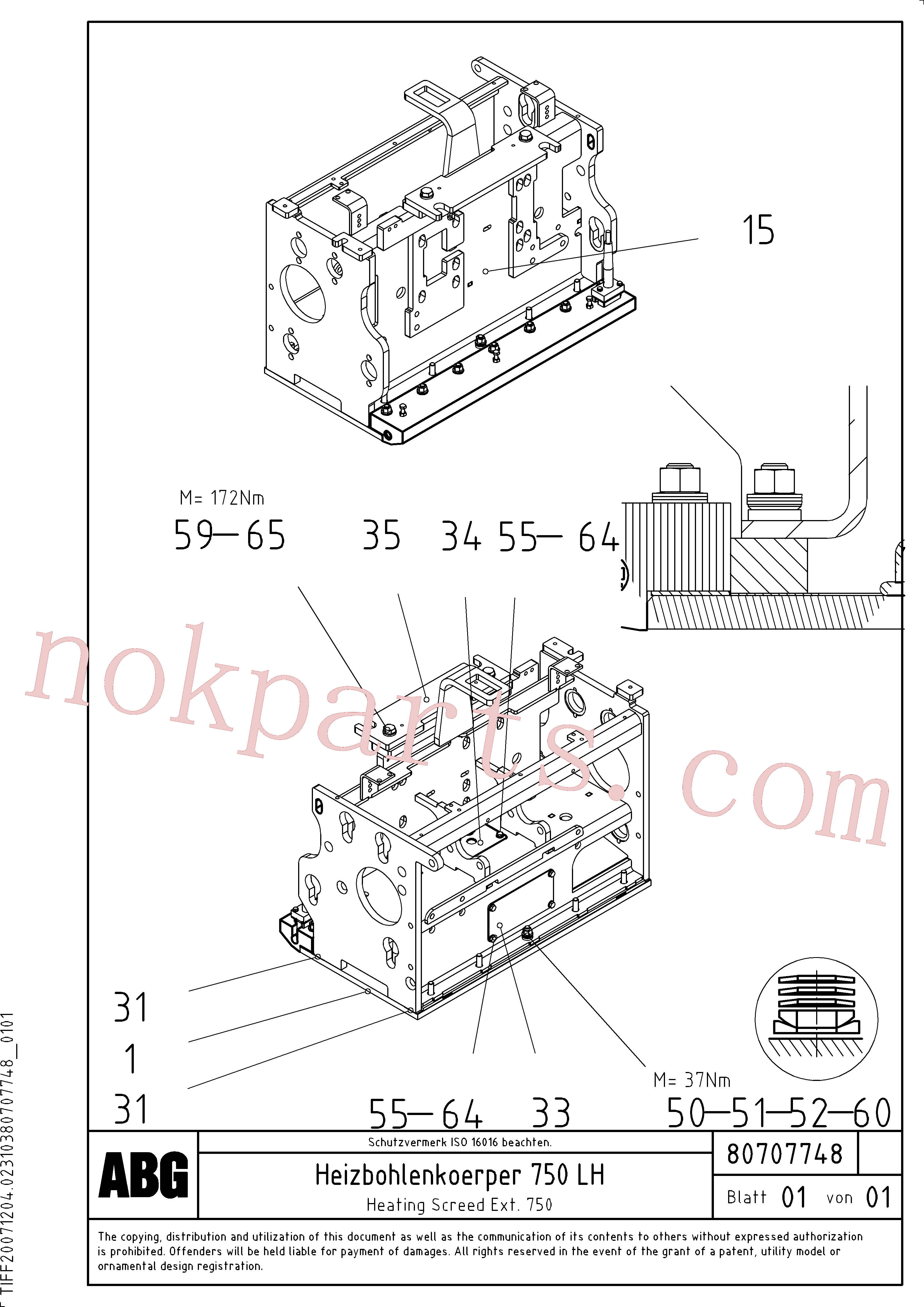 RM54456173 for Volvo Heated body for extension, Heated screed plate for extendable screed(1047302 assembly)