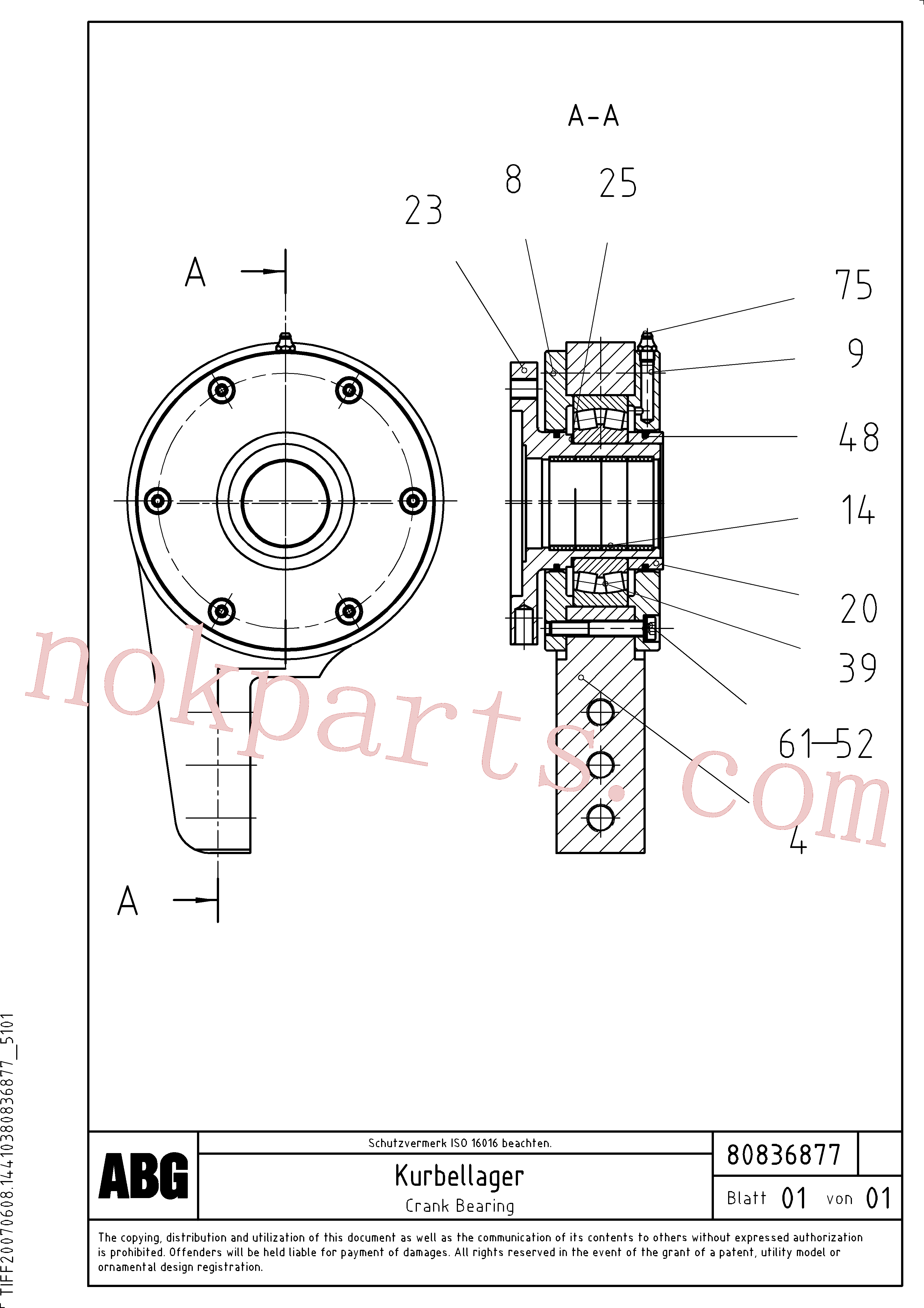 RM87980363 for Volvo Crank bearing for extension(1047644 assembly)