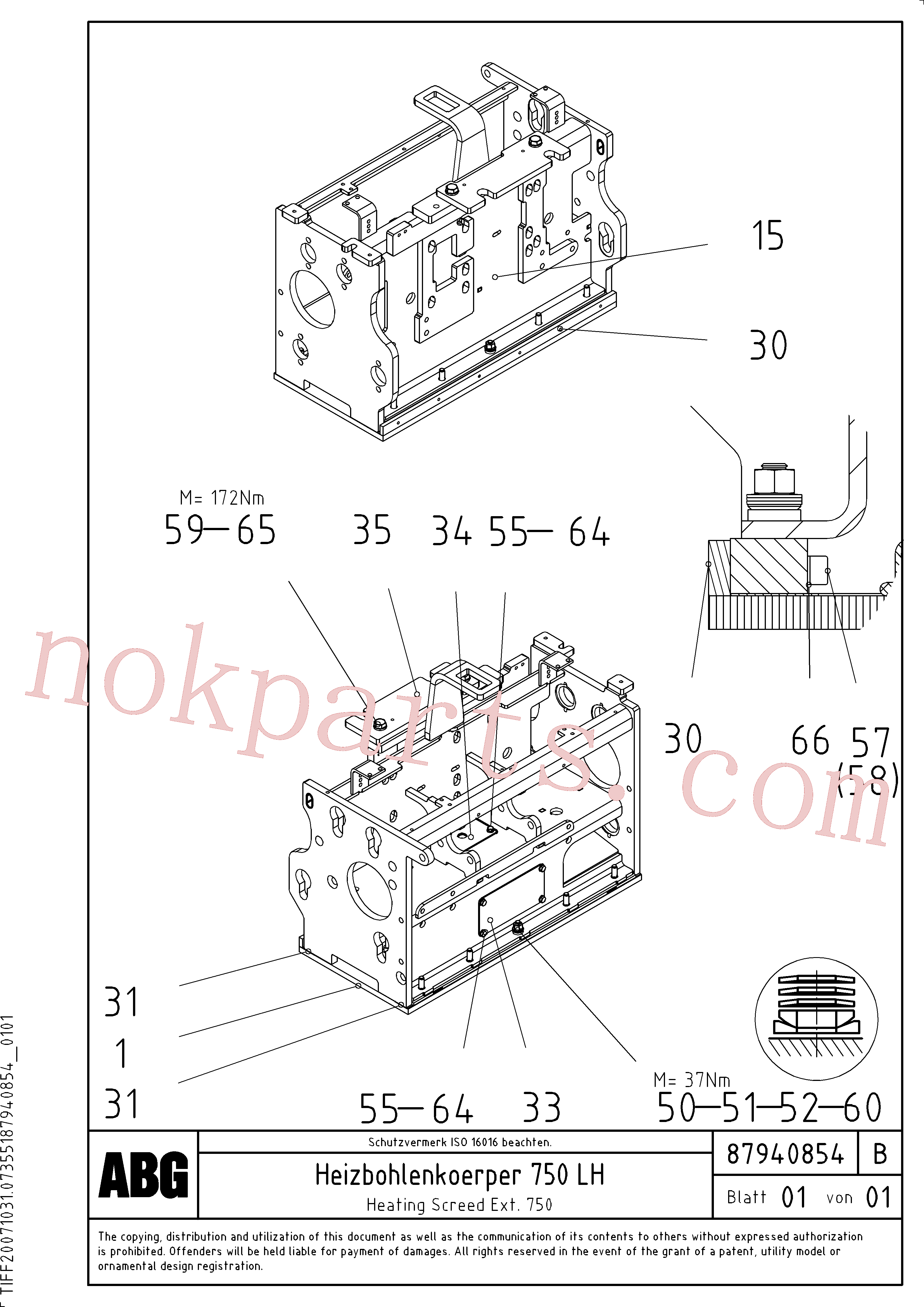RM54456173 for Volvo Heated body for extension, Heating screed extension(1047926 assembly)