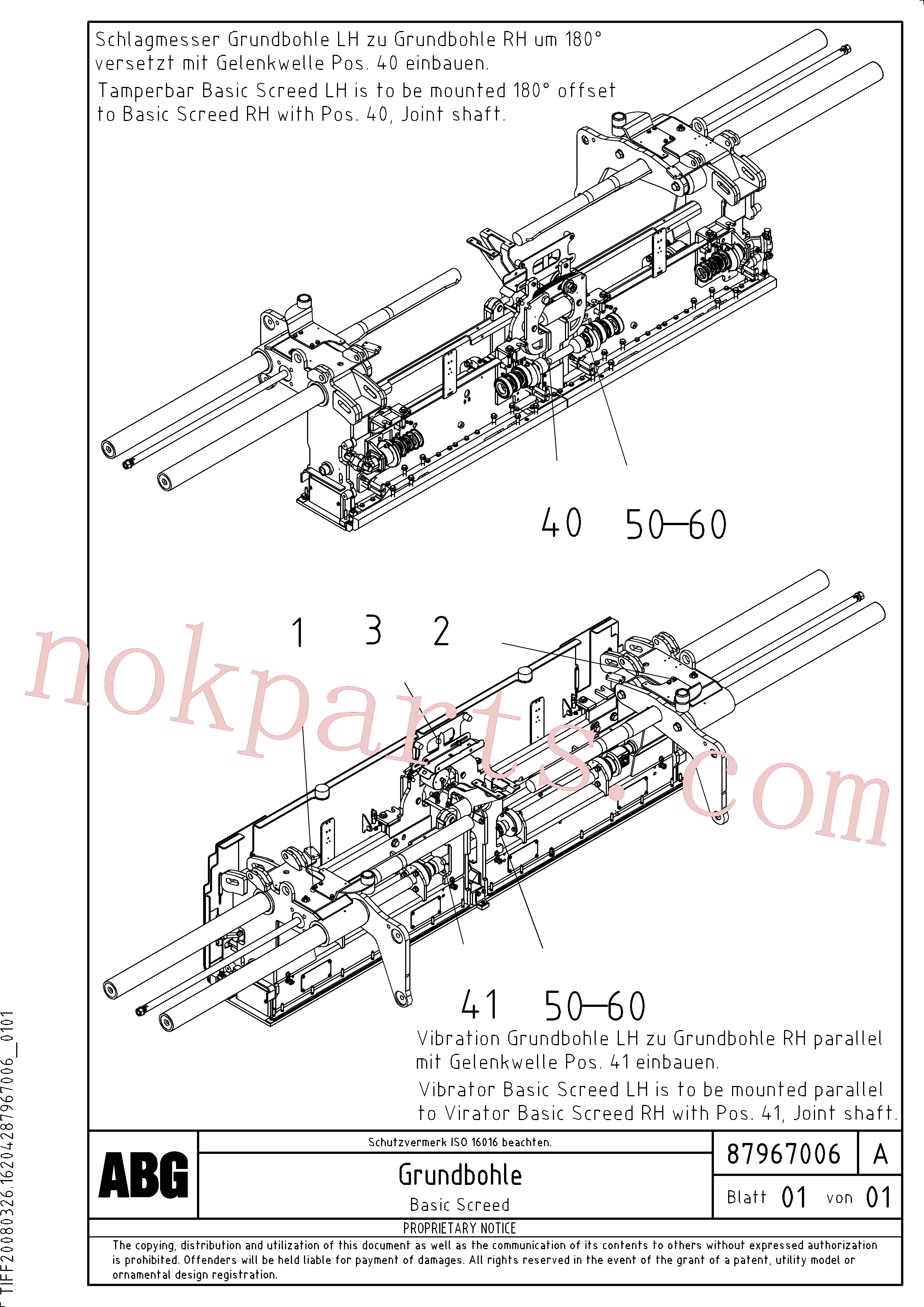 RM80870371 for Volvo Basic screed components division by serial number(1048069 assembly)