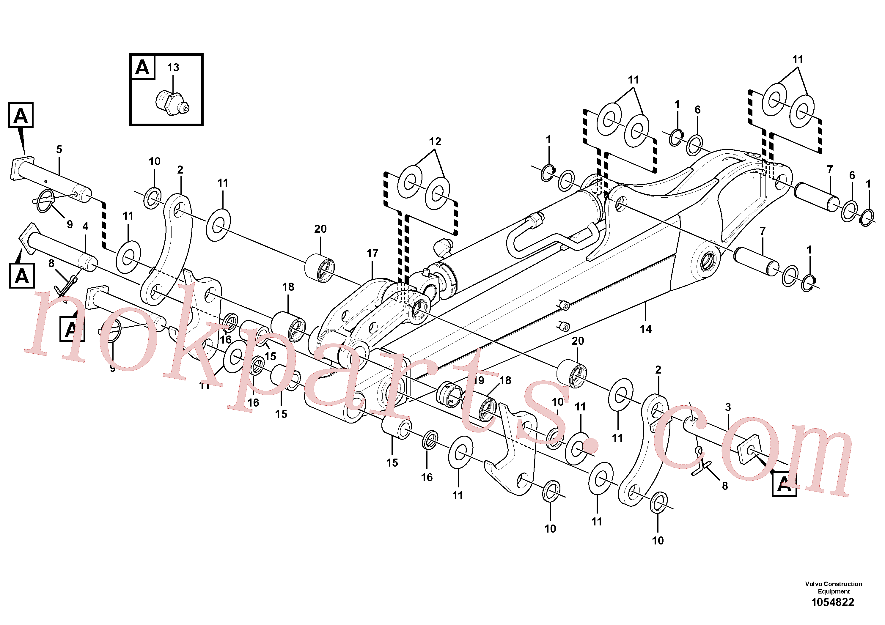 VOE11800196 for Volvo Dipper arm(1054822 assembly)