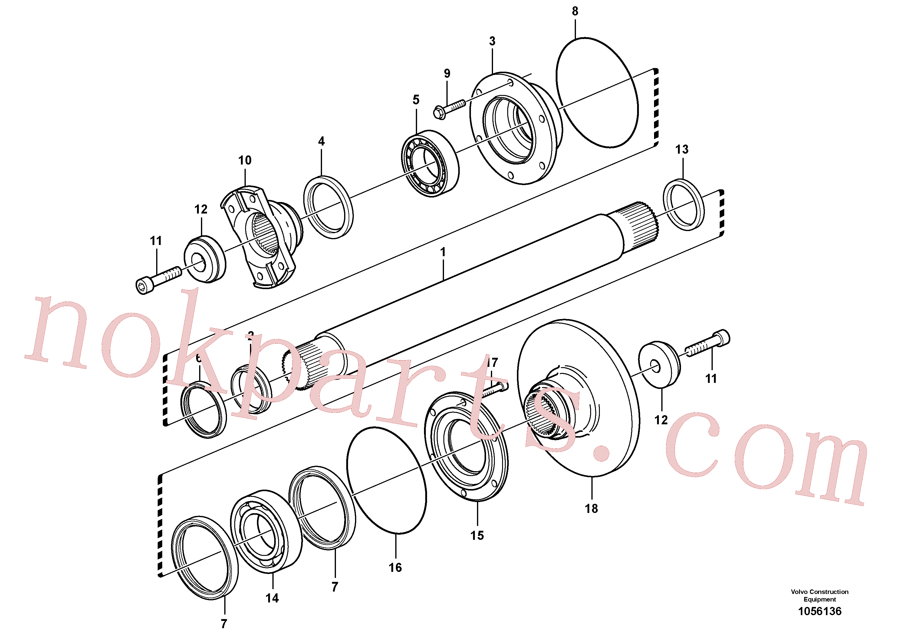 VOE965873 for Volvo Intermediate shaft(1056136 assembly)