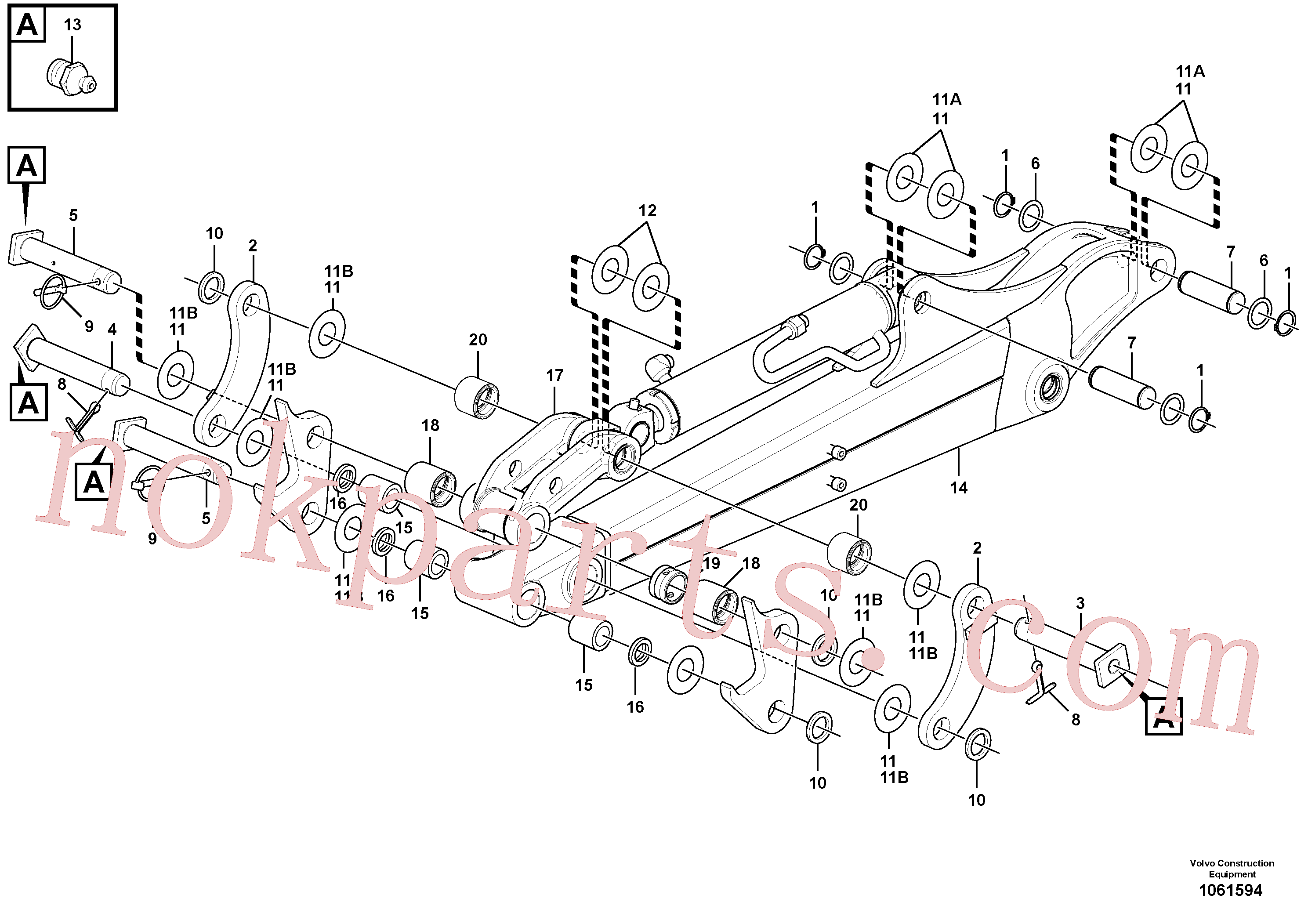VOE11800196 for Volvo Dipper arm(1061594 assembly)