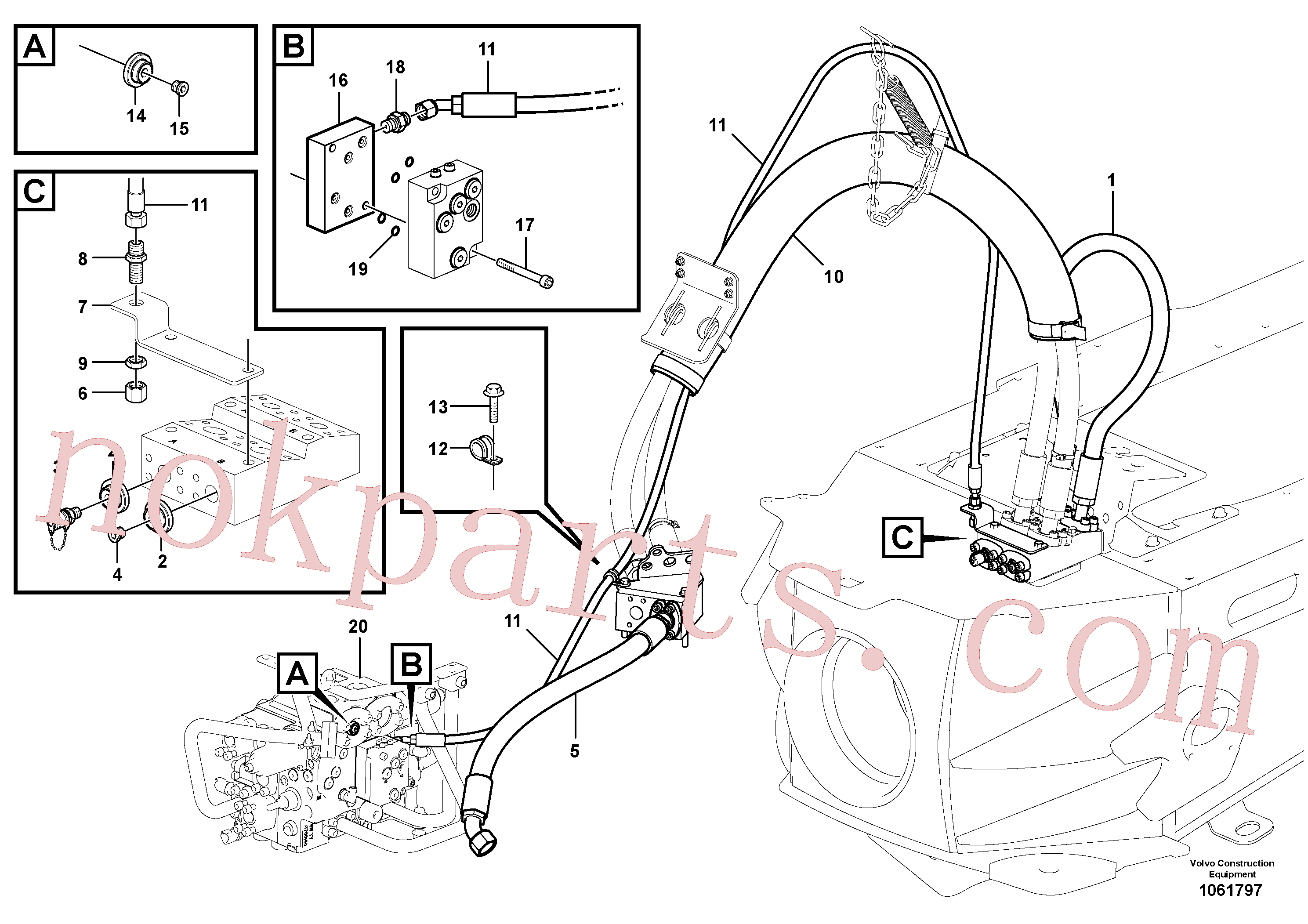 VOE935428 for Volvo Open centre and load sensing system(1061797 assembly)