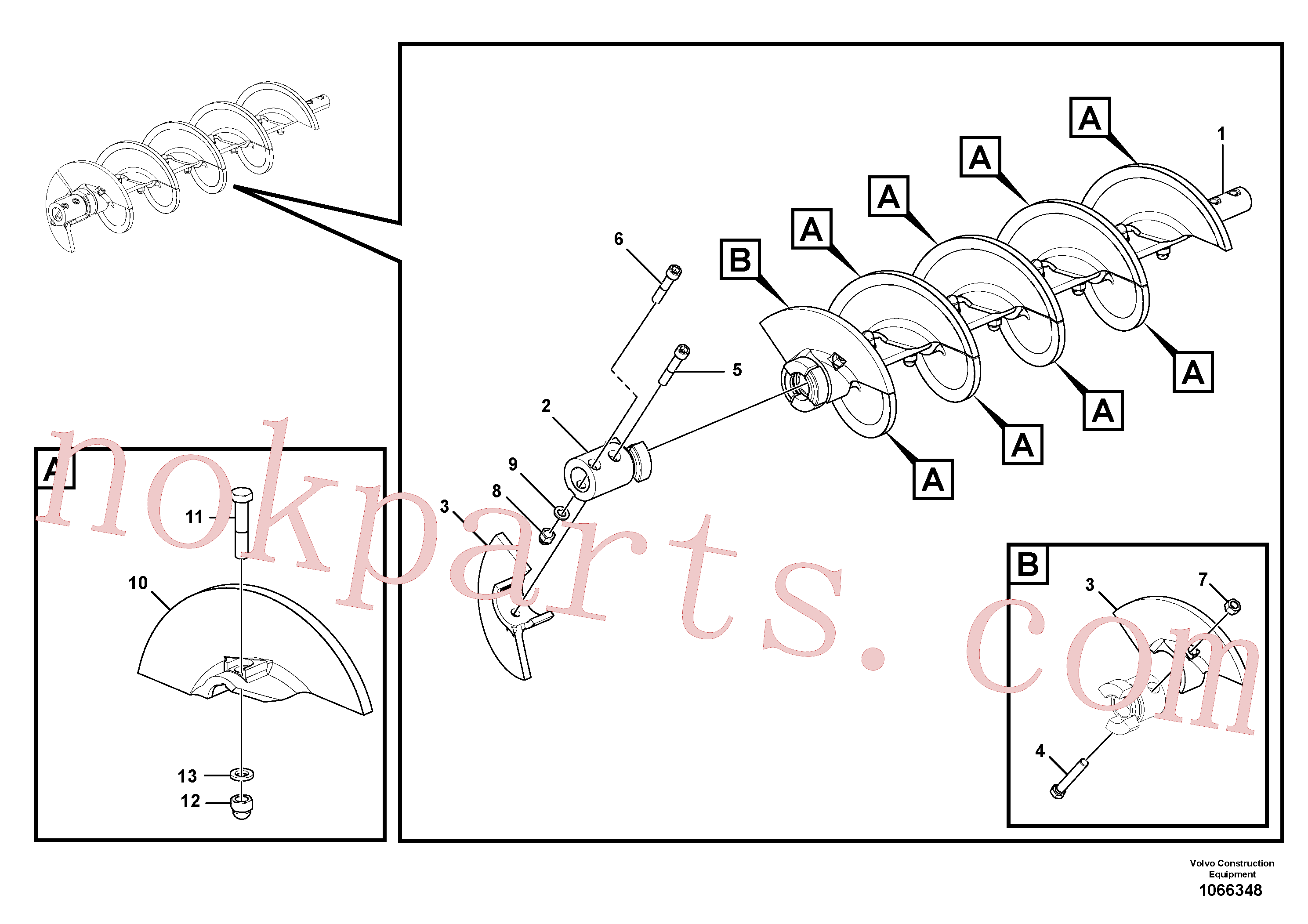 VOE955786 for Volvo Auger extension(1066348 assembly)