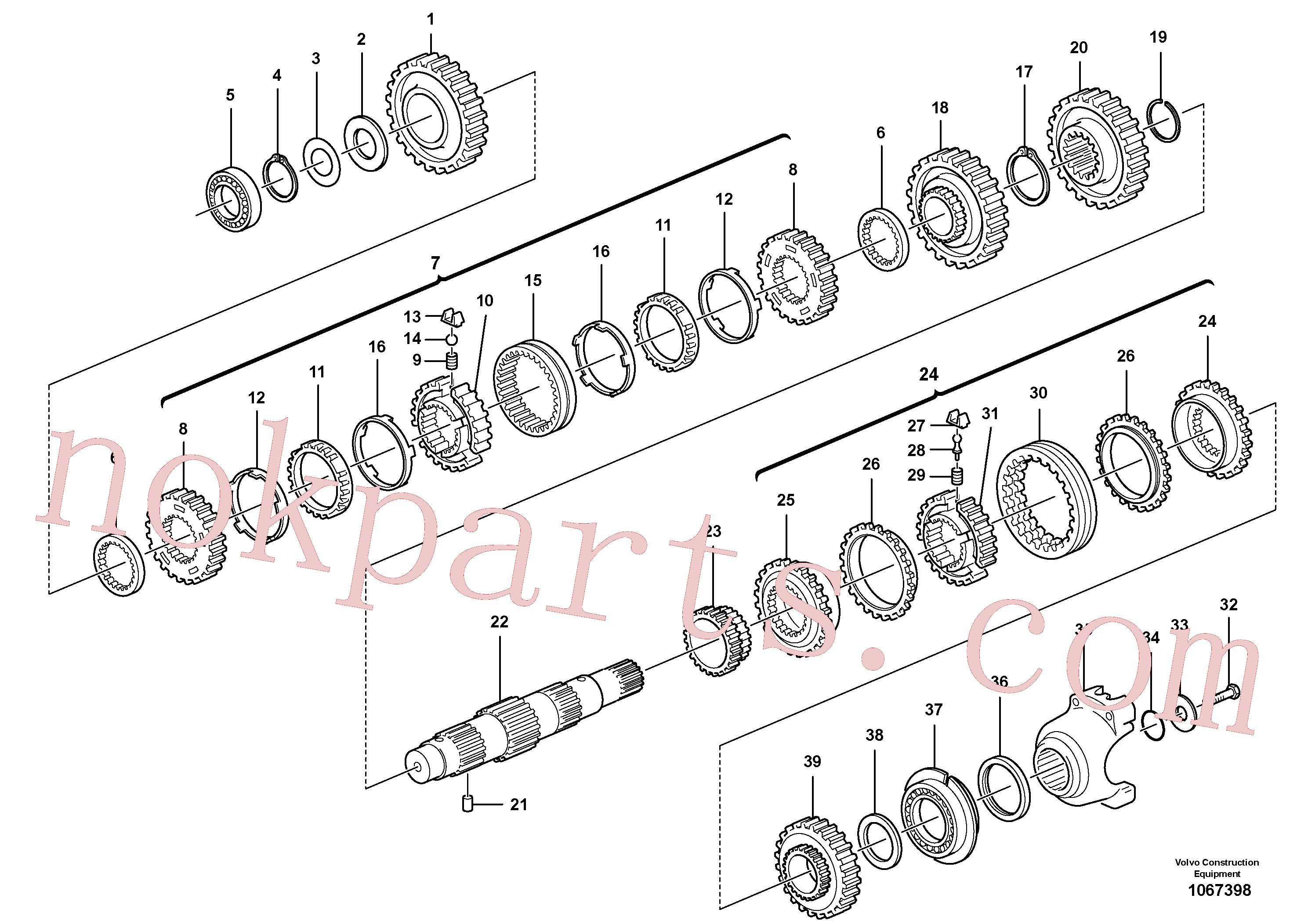 VOE11709130 for Volvo Secondary shaft(1067398 assembly)