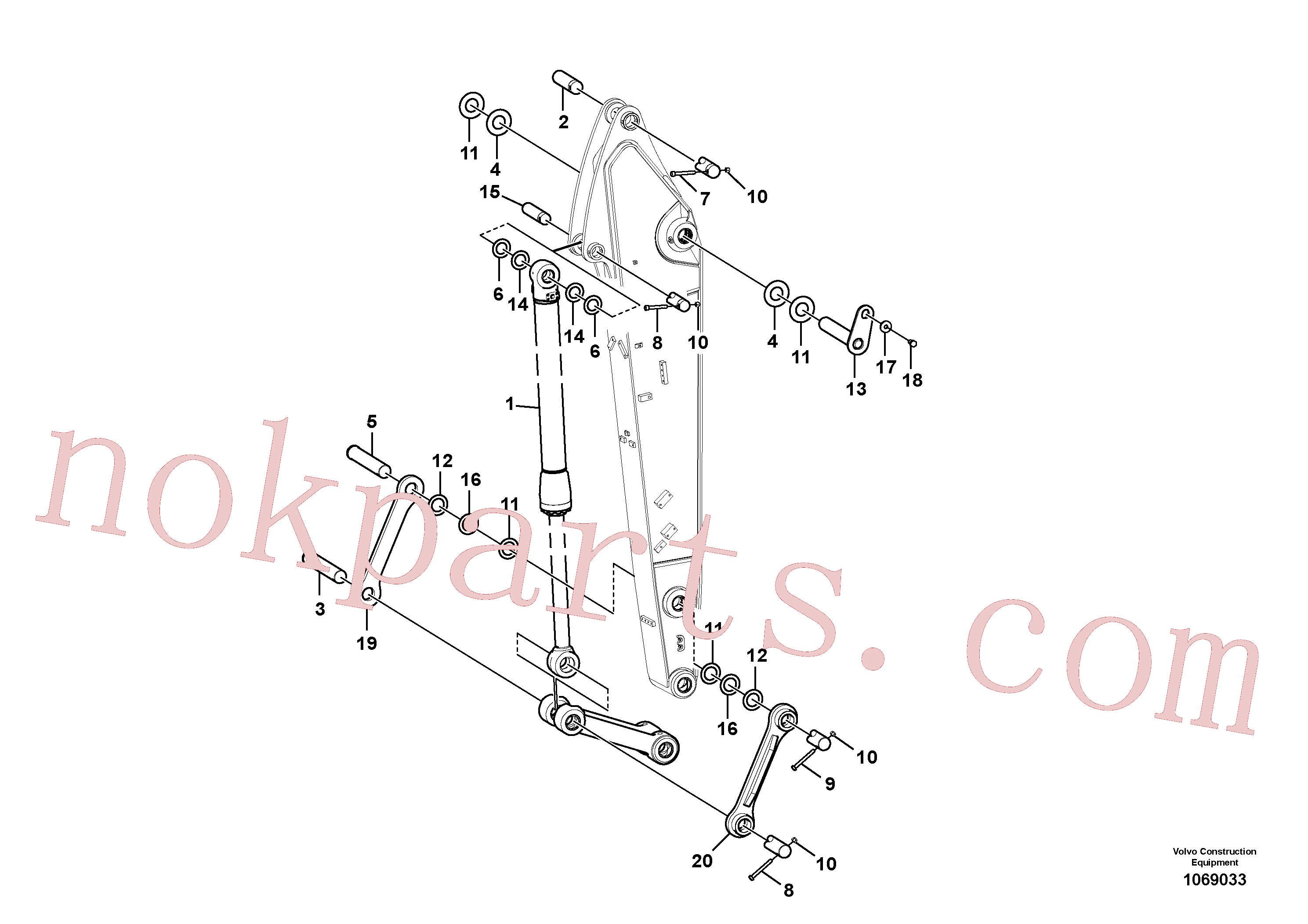 VOE14377910 for Volvo Links to dipper arm(1069033 assembly)