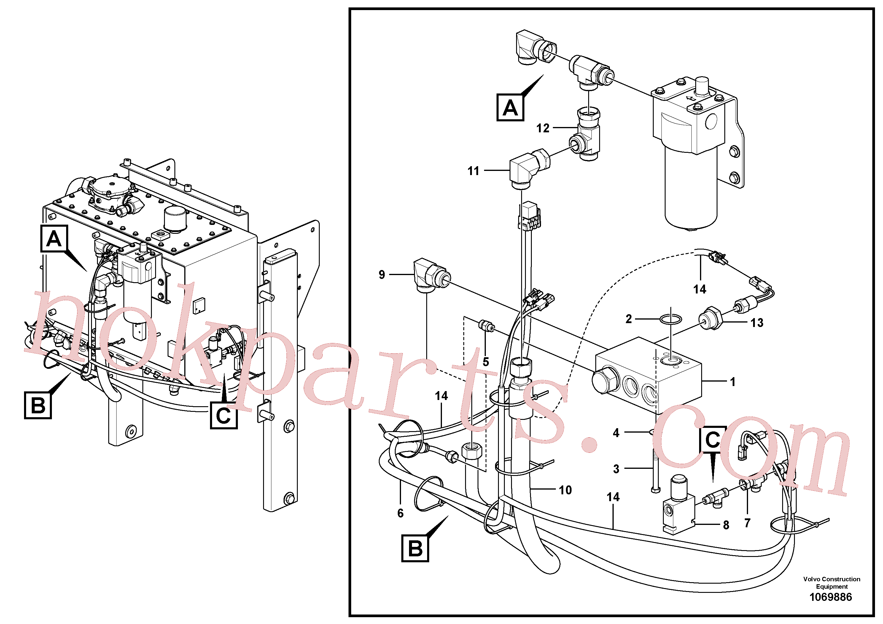 VOE936058 for Volvo Bypass Valve Hydraulic Circuit - AWD(1069886 assembly)