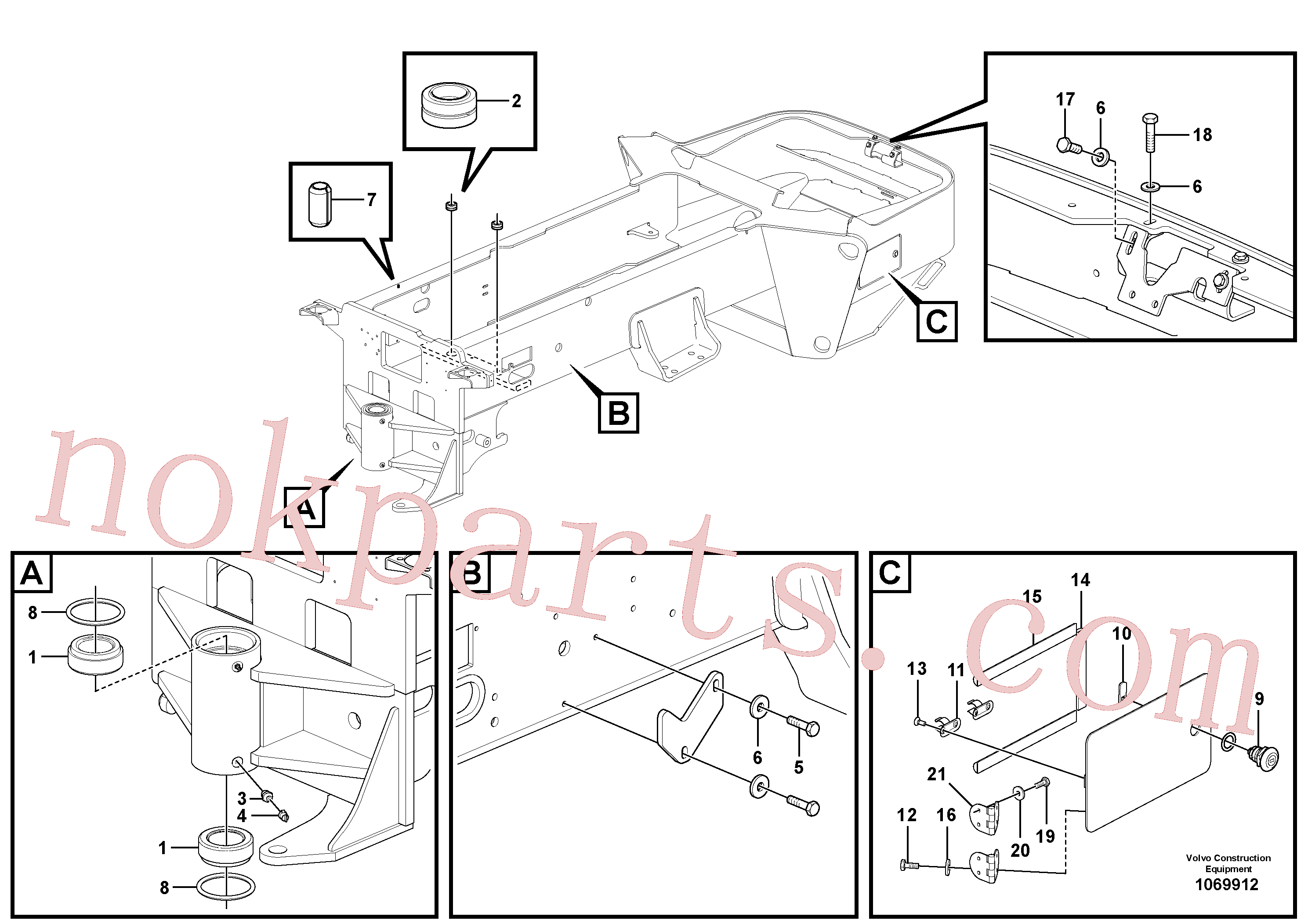 VOE12787930 for Volvo Rear Frame Installation(1069912 assembly)