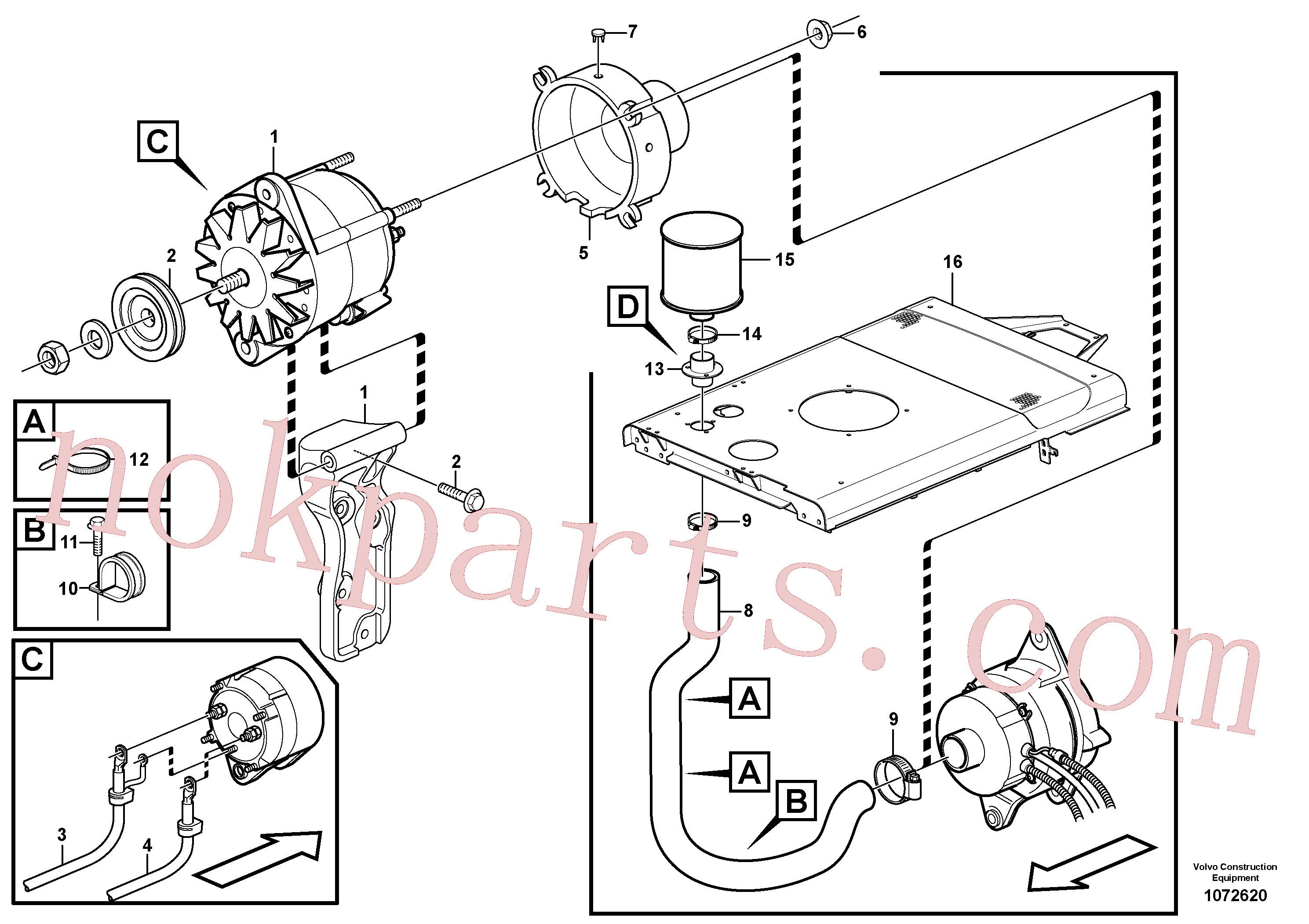 VOE14215726 for Volvo Alternator with assembling details(1072620 assembly)