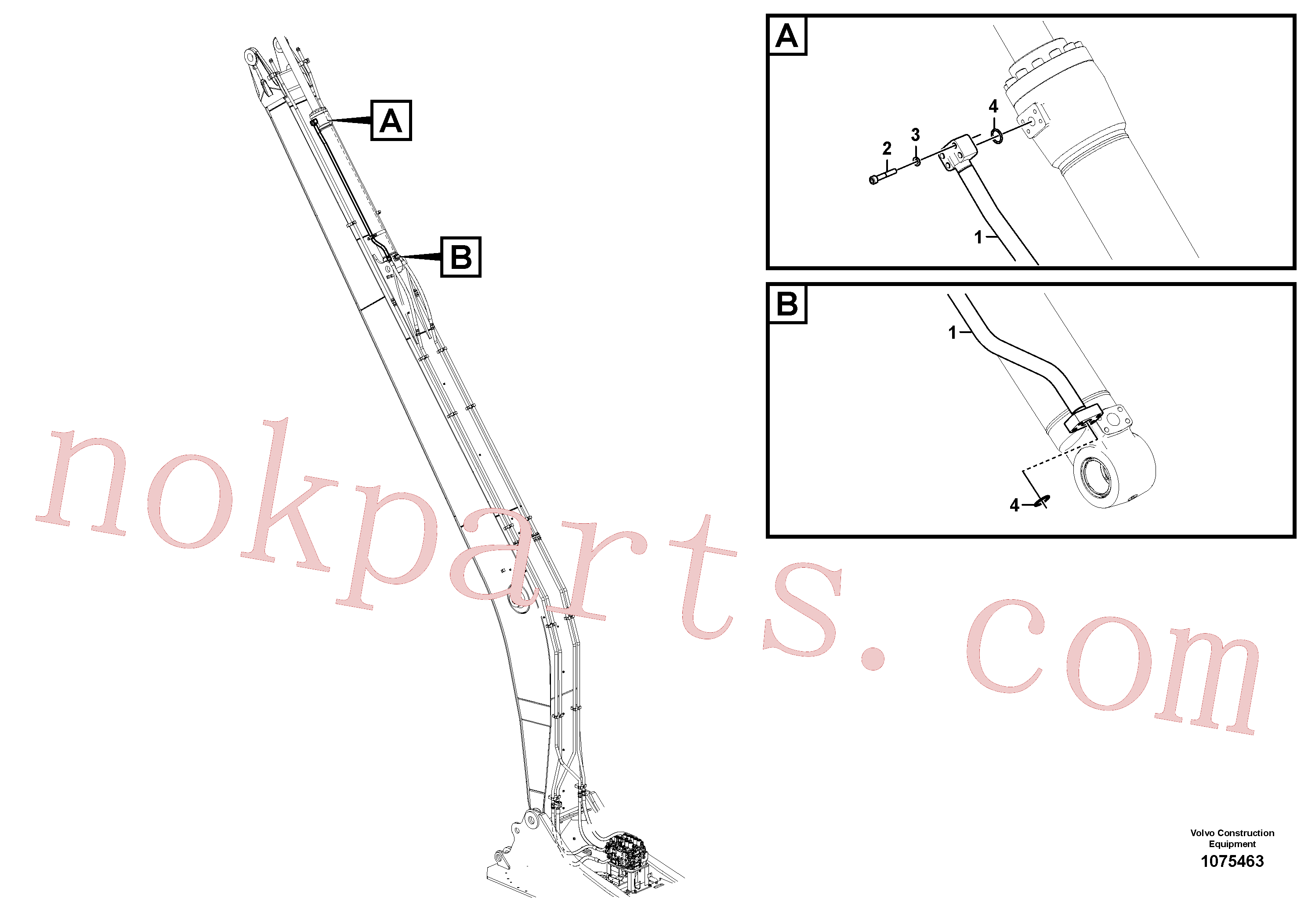 VOE14644031 for Volvo Working hydraulic, dipper arm cylinder on long boom(1075463 assembly)