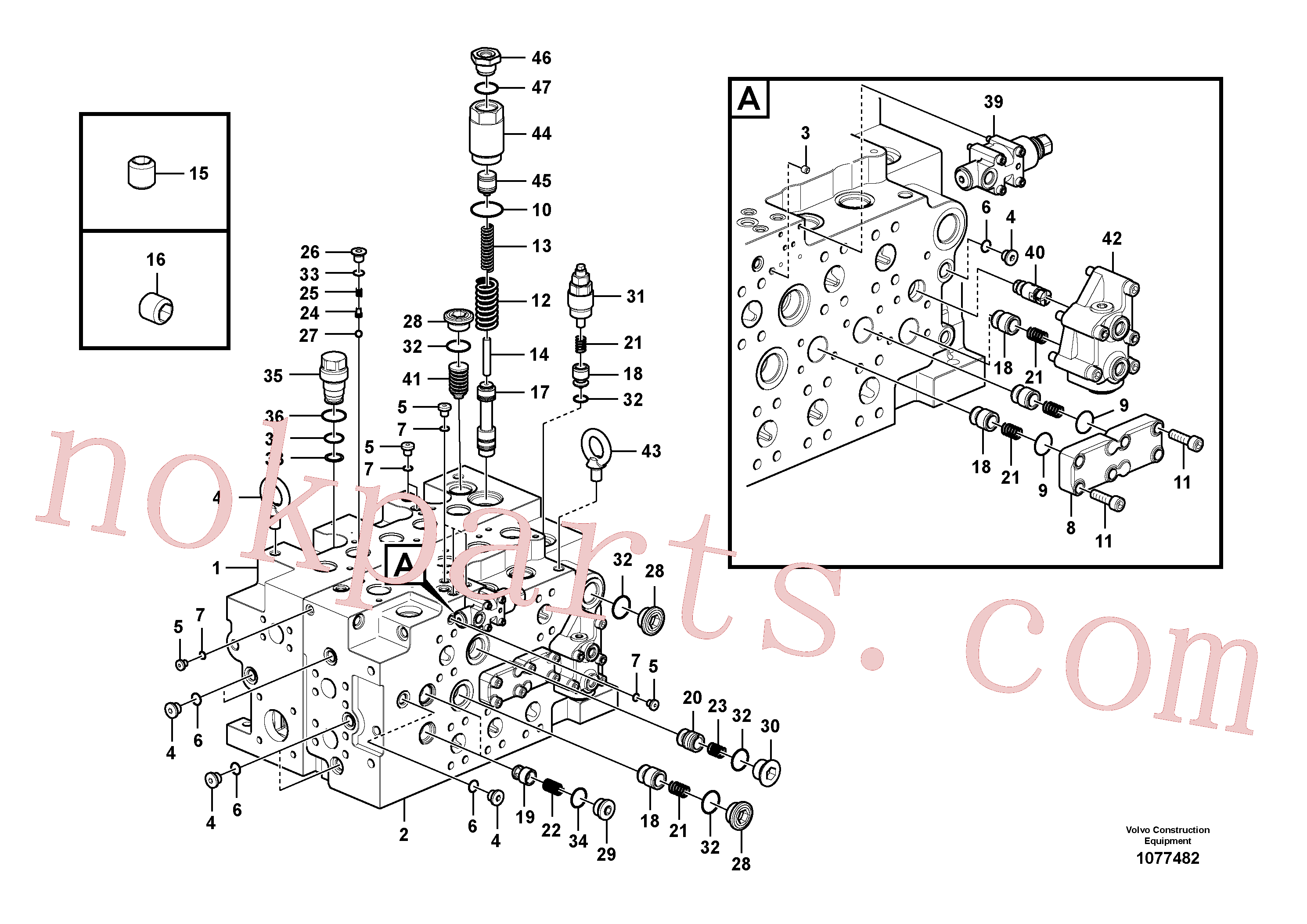VOE14670038 for Volvo Main control valve(1077482 assembly)
