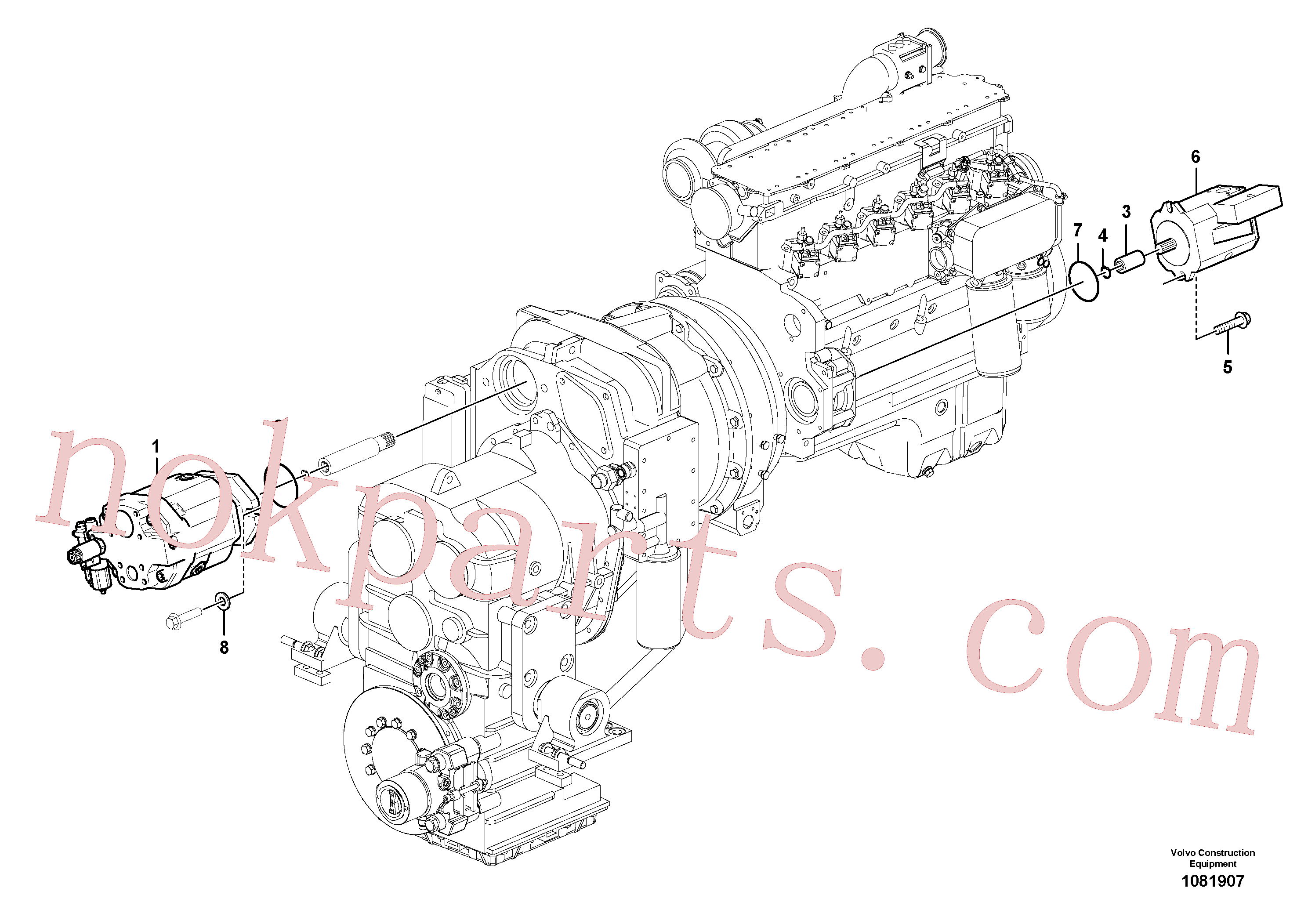 VOE17210651 for Volvo Hydraulic pump with fitting parts(1081907 assembly)