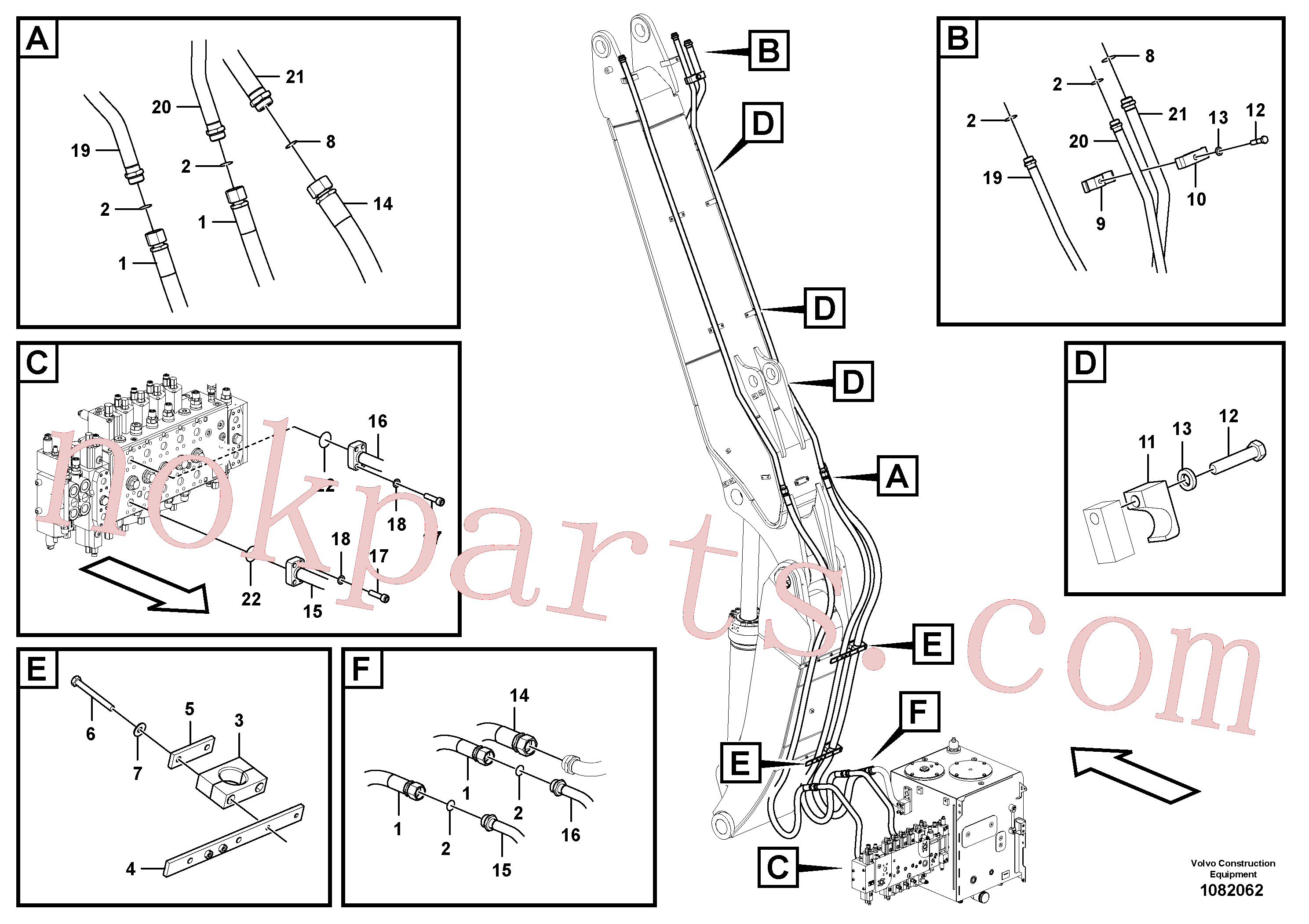 VOE14387067 for Volvo Working hydraulic, hammer and shear for adjustable boom(1082062 assembly)