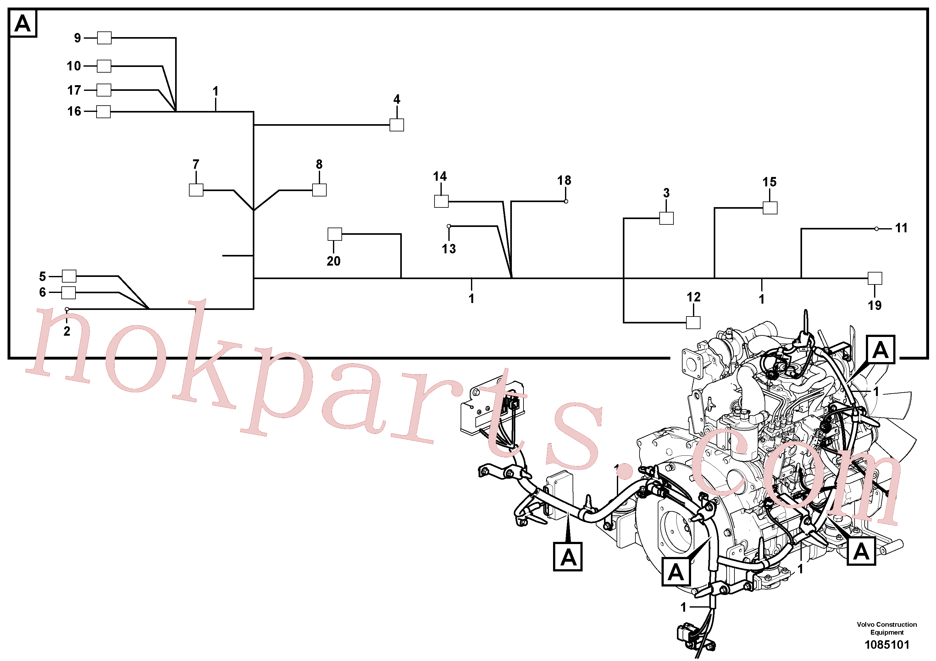 VOE11806300 for Volvo Cable harness, engine(1085101 assembly)