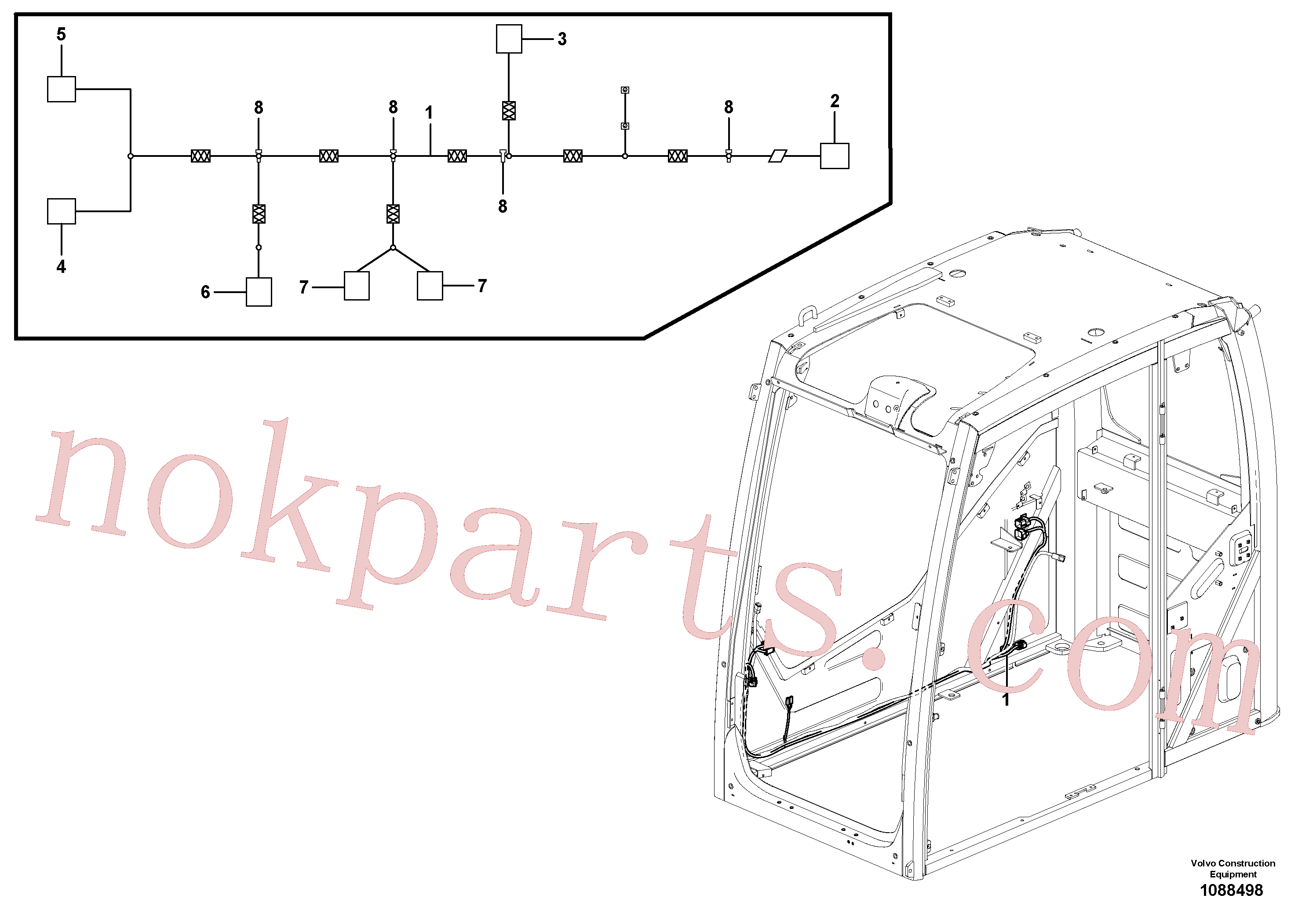 VOE11806300 for Volvo Cable harness, cab(1088498 assembly)