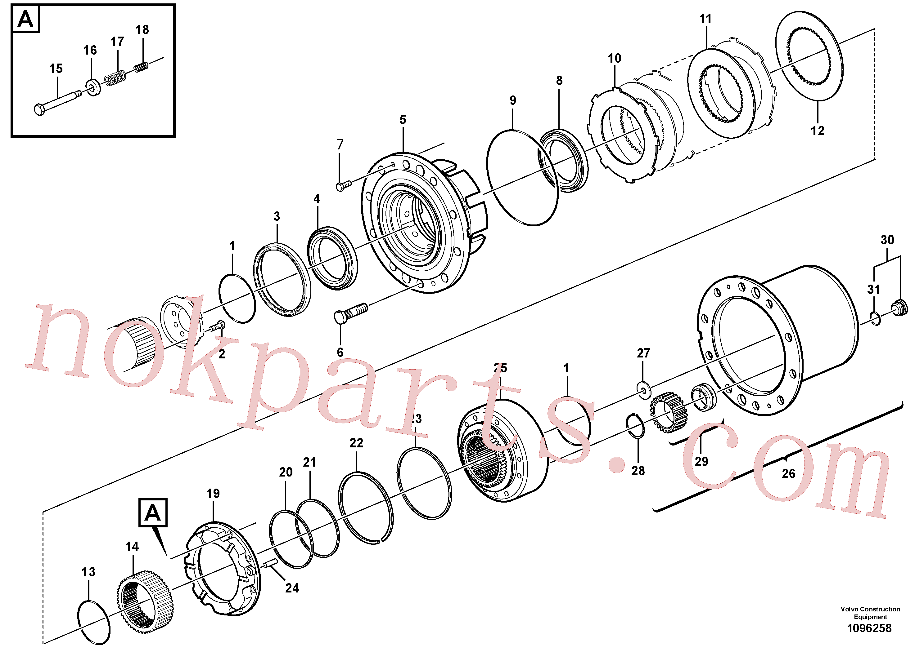 VOE14558965 for Volvo Front axle, Hub reduction, Rear axle, Hub reduction(1096258 assembly)
