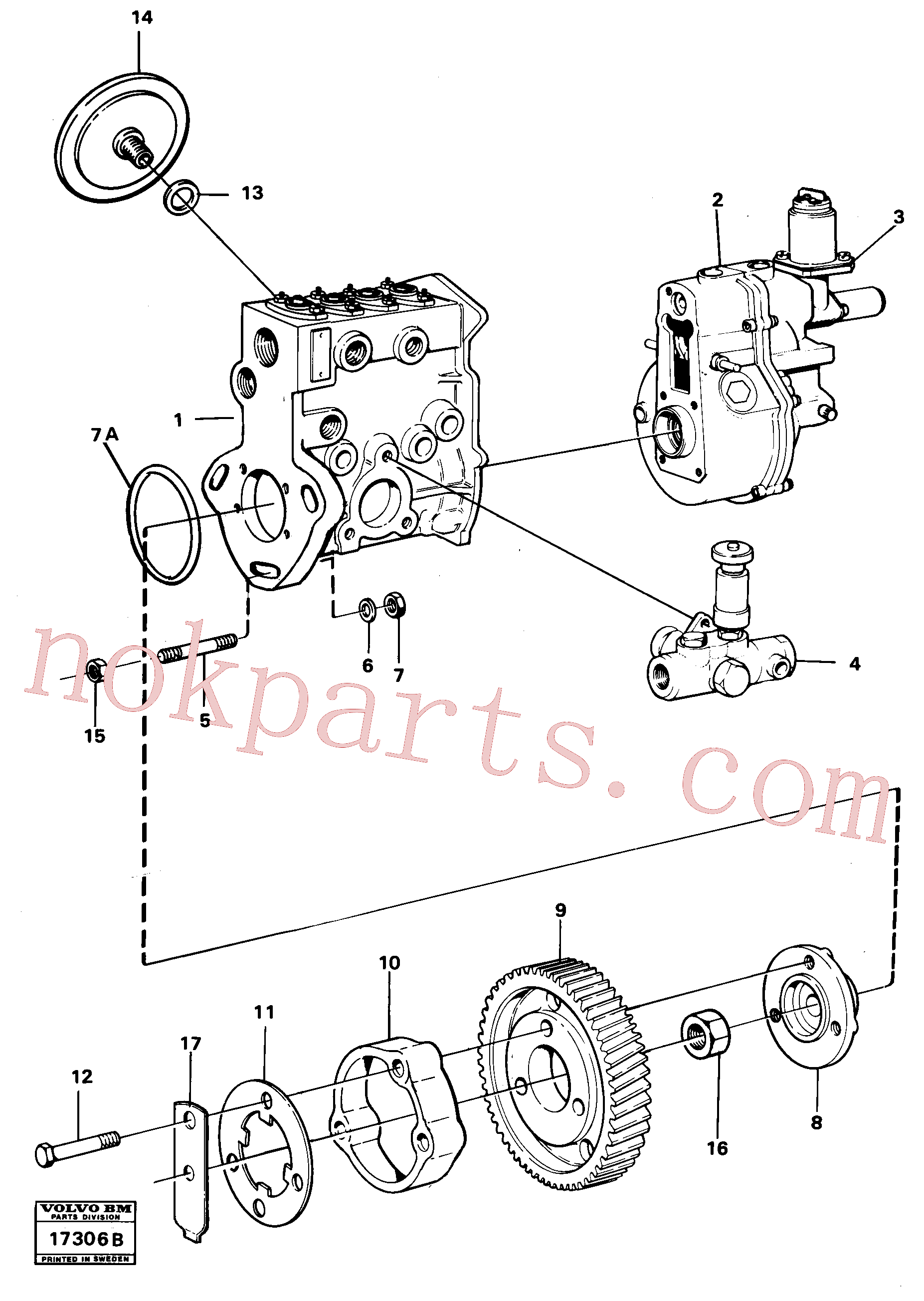 VOE942336 for Volvo Fuel injection pump with fitting parts(17306B assembly)