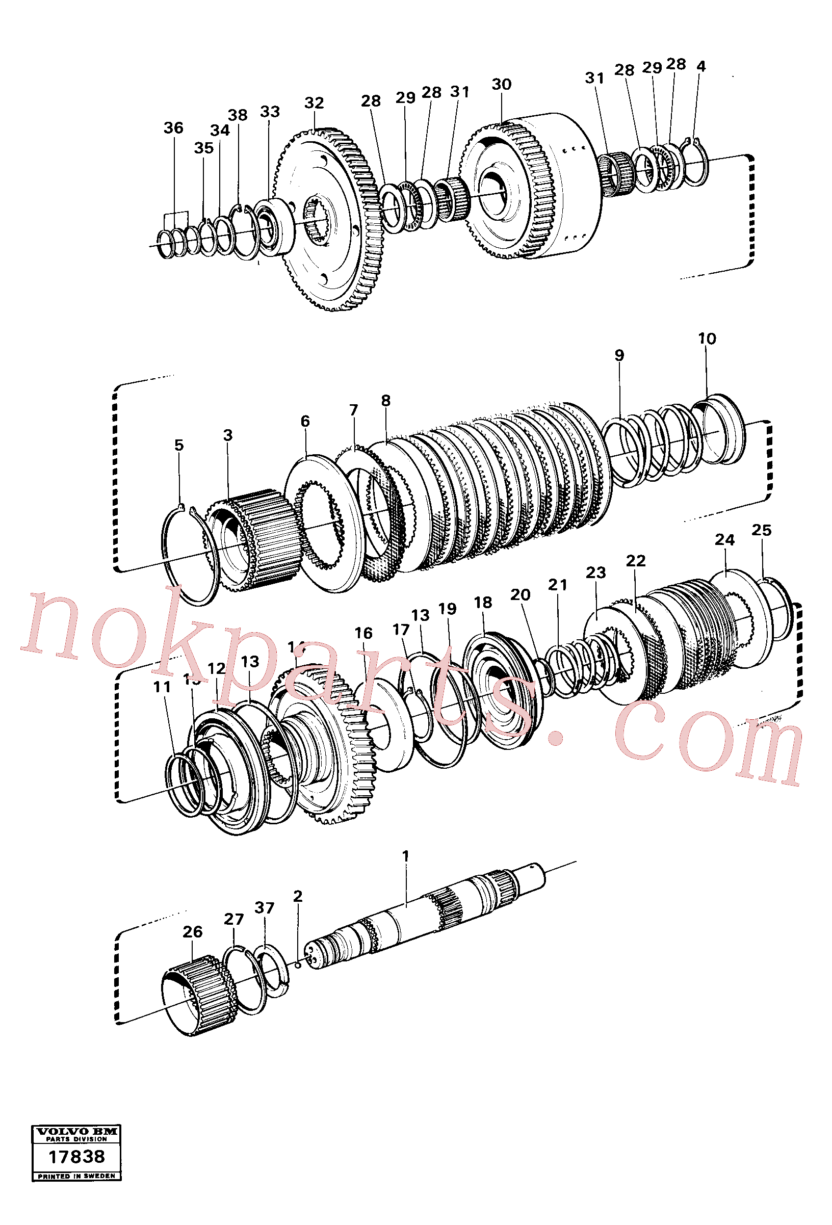 VOE11037052 for Volvo Clutches reverse/2nd speeds, Hydraulic clutch reverse / 2nd speeds.(17838 assembly)