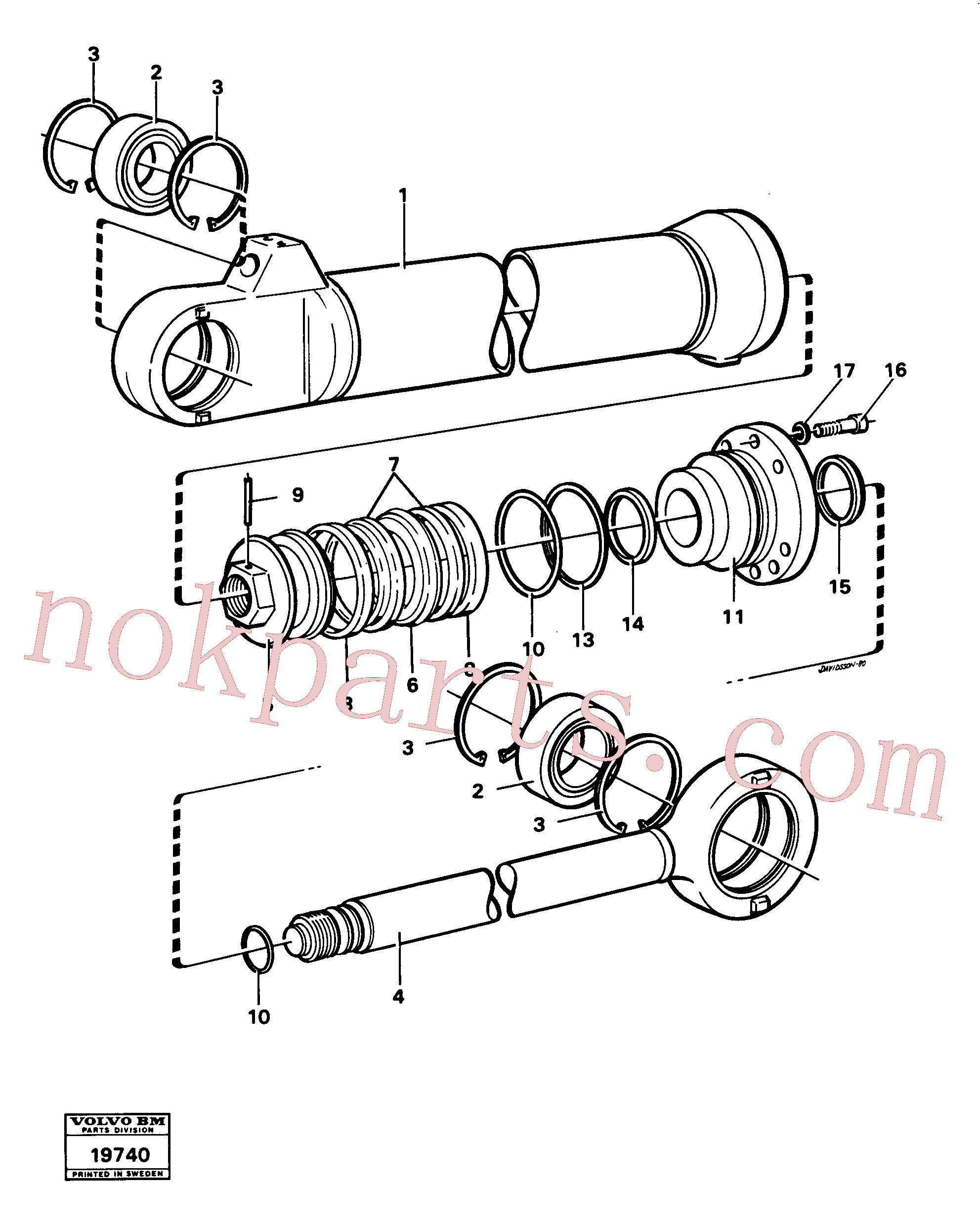 VOE960172 for Volvo Hydraulic cylinder tilting(19740 assembly)