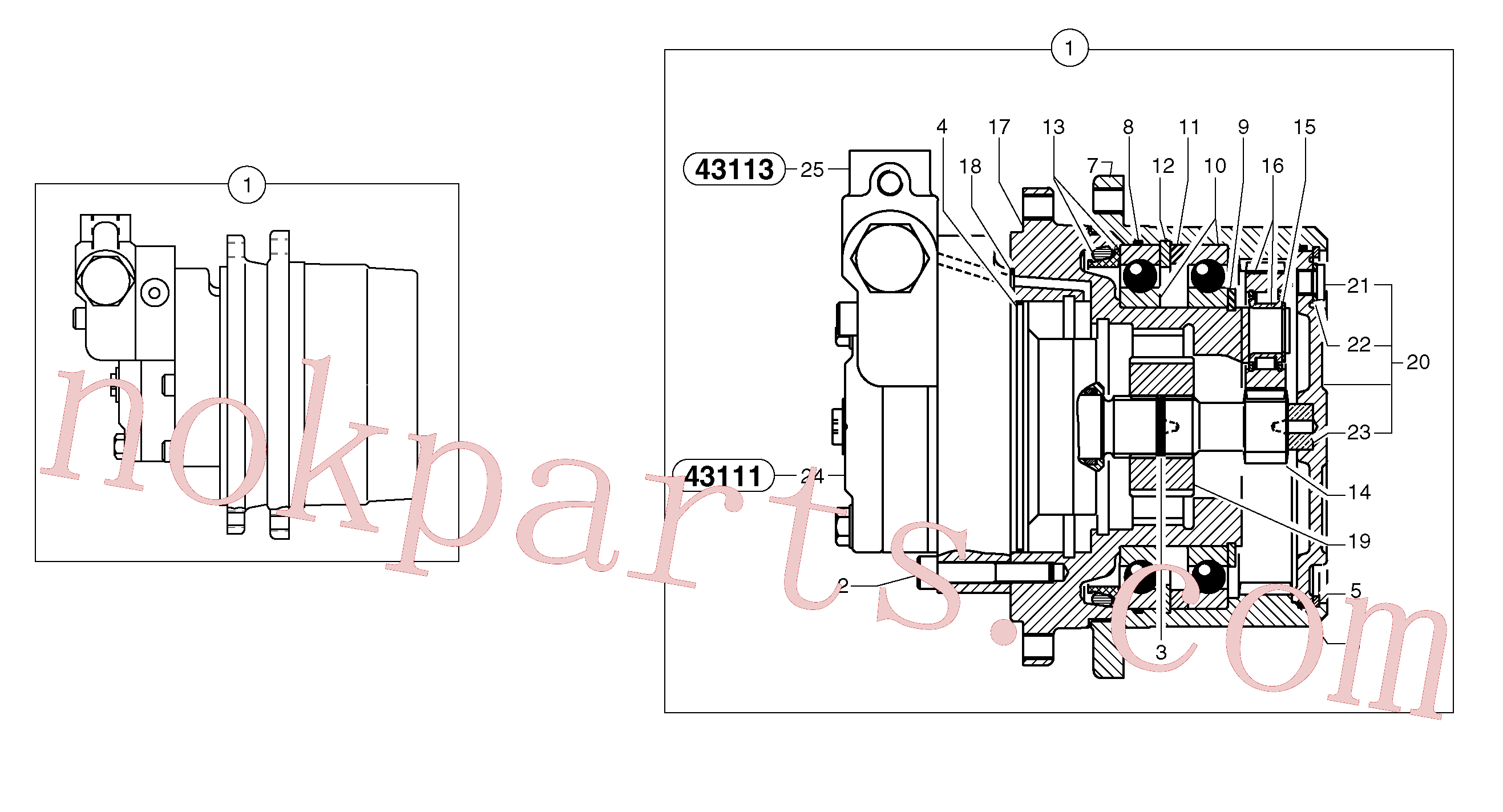 PJ7415976 for Volvo Travelling gear motor assy / without brake(4311X1 assembly)