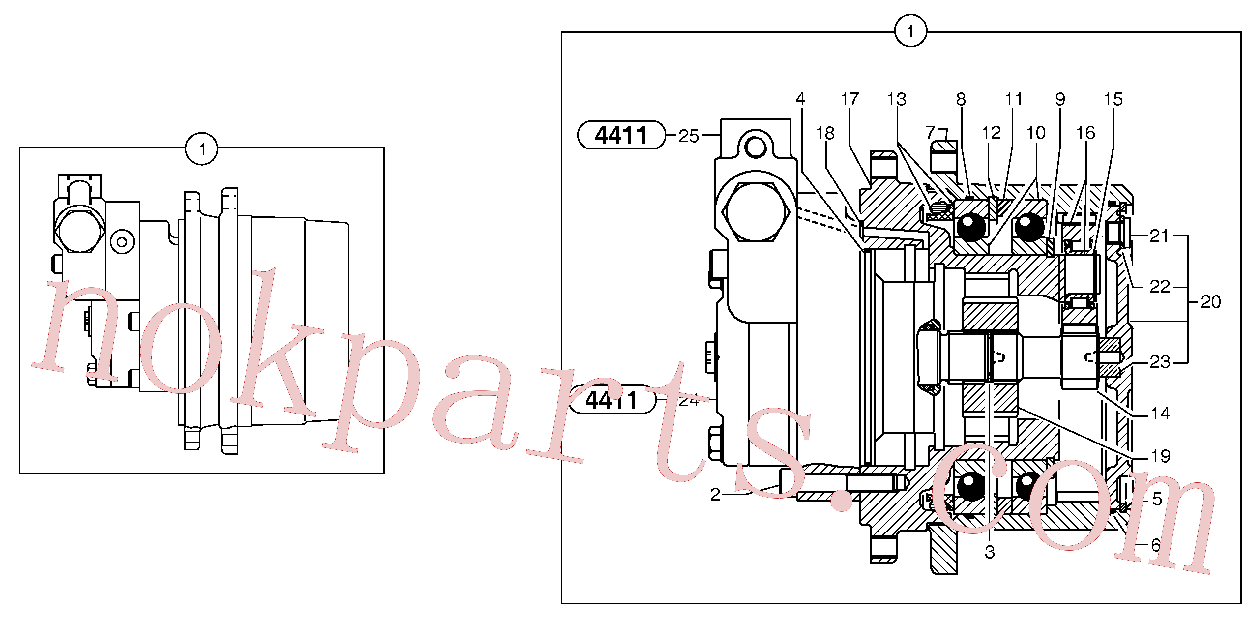 PJ7415976 for Volvo Travelling gear motor assy / without brake(4411Z3 assembly)
