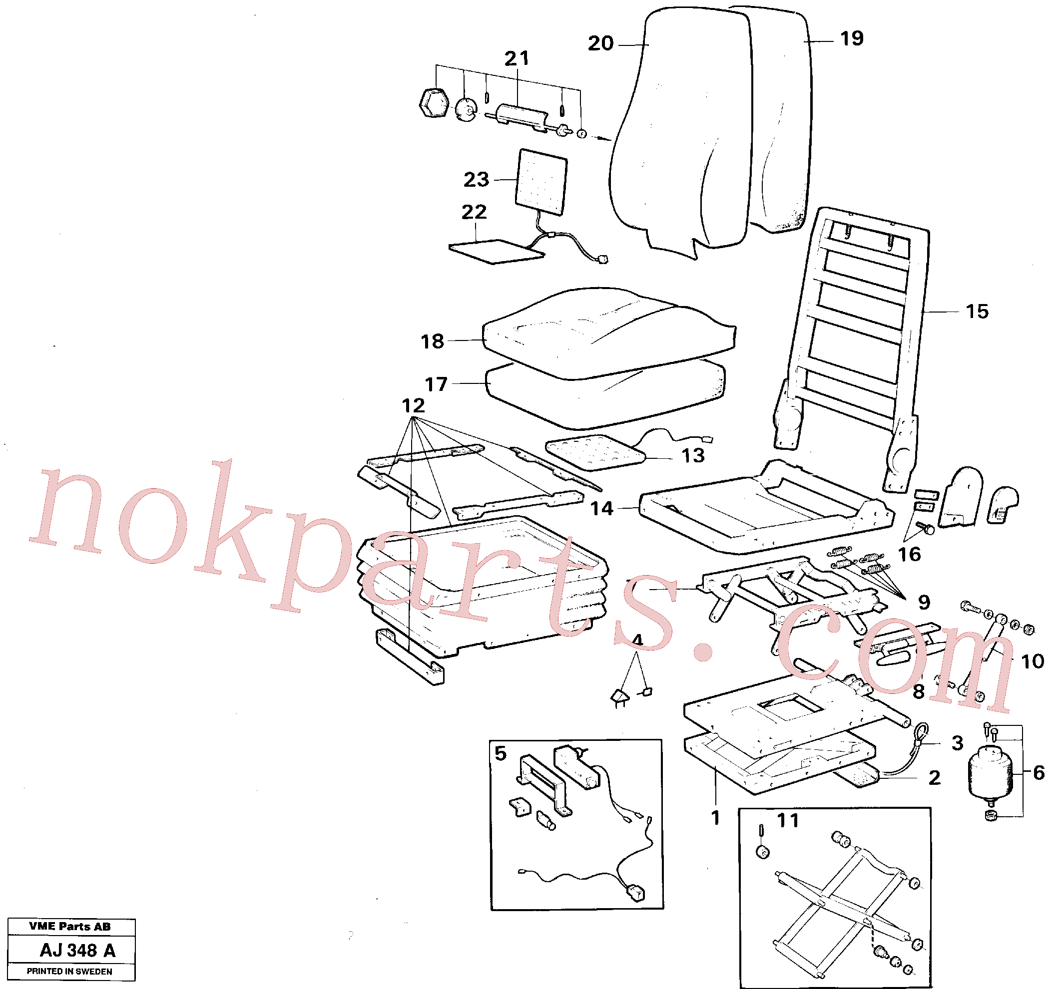 VOE11998662 for Volvo Operator's seat, Air suspensioned Kab(AJ348A assembly)