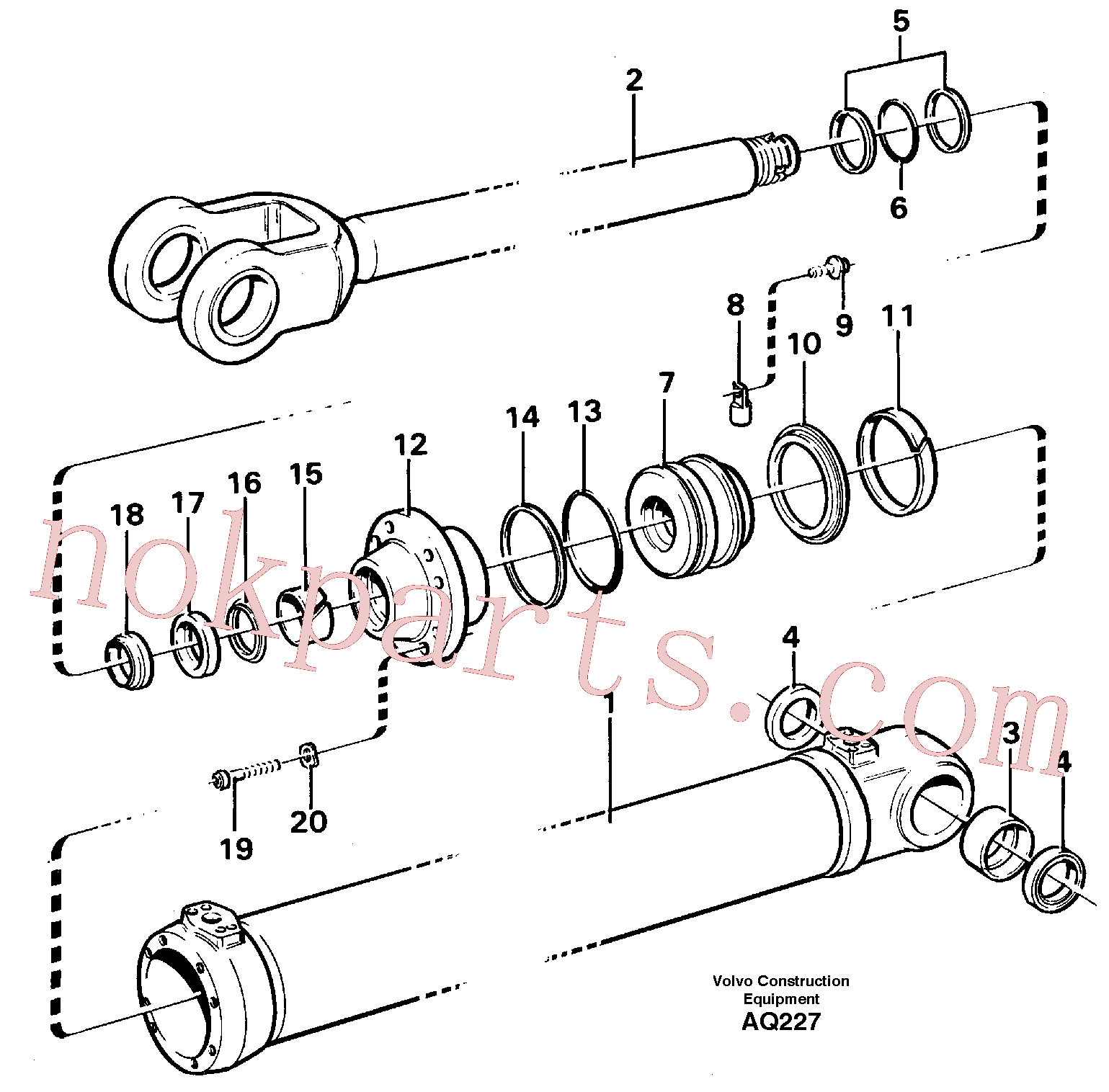 VOE11088029 for Volvo Hydraulic cylinder Lifting(AQ227 assembly)