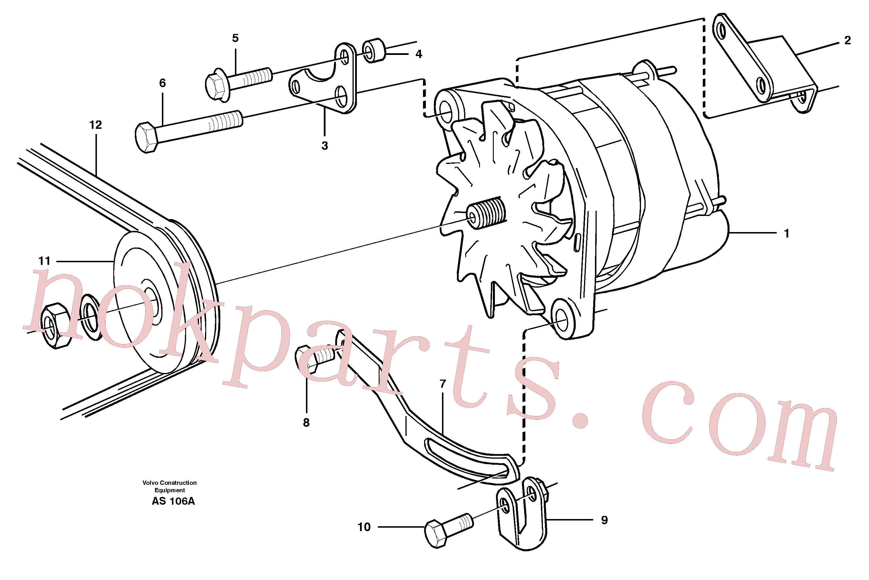 VOE971005 for Volvo Alternator with assembling details(AS106A assembly)