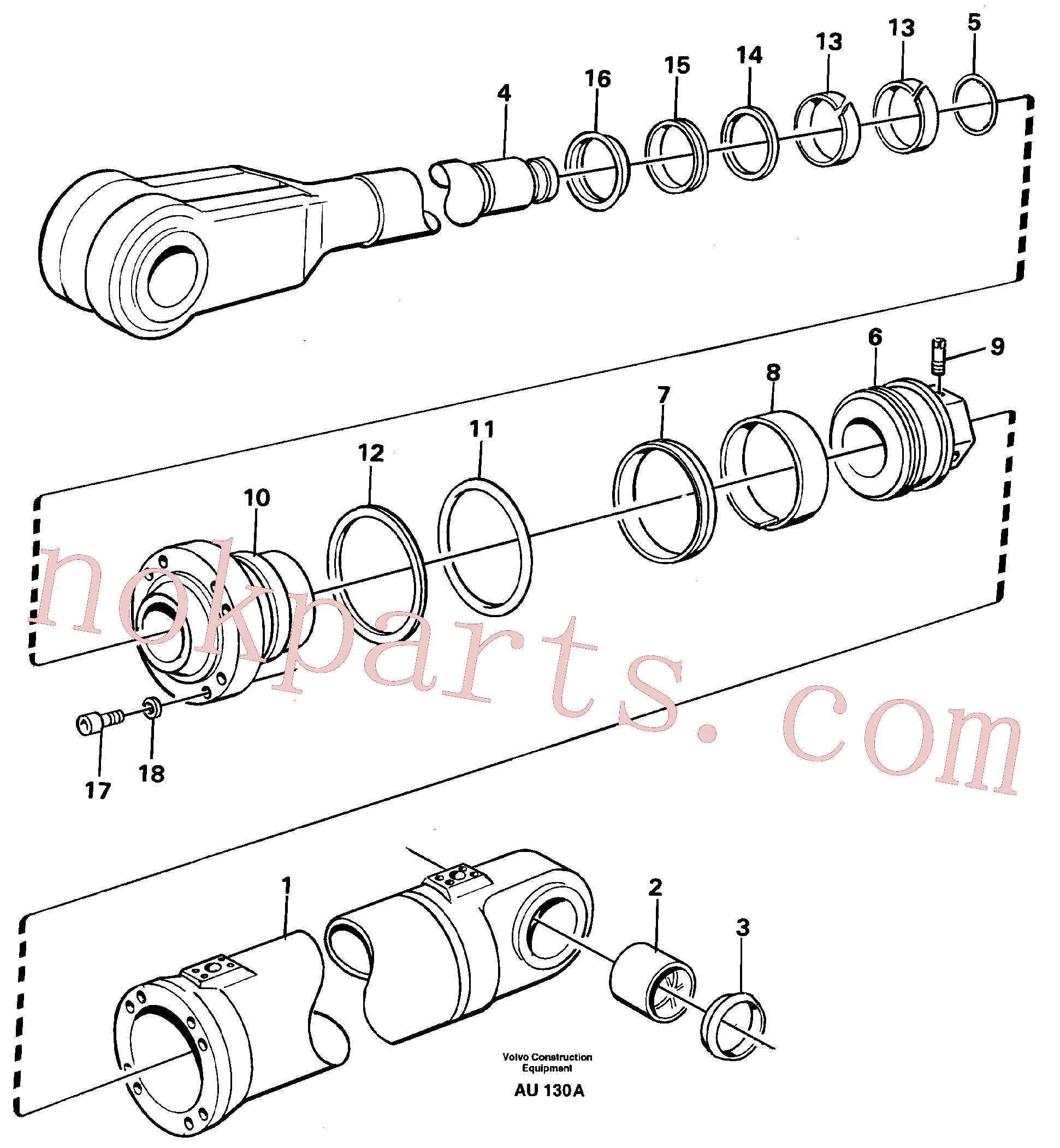 VOE11088029 for Volvo Hydraulic cylinder, lifting(AU130A assembly)