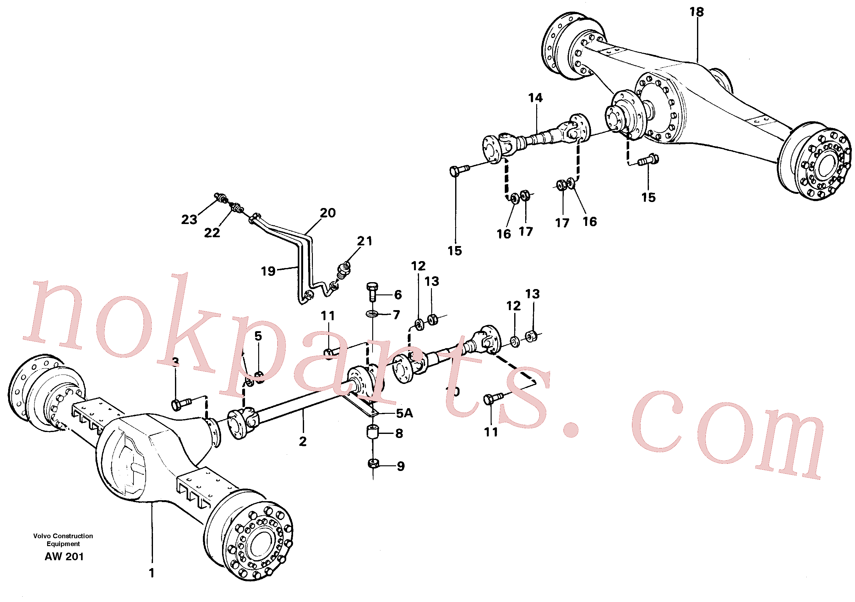 VOE11172120 for Volvo Propeller shafts with fitting parts(AW201 assembly)
