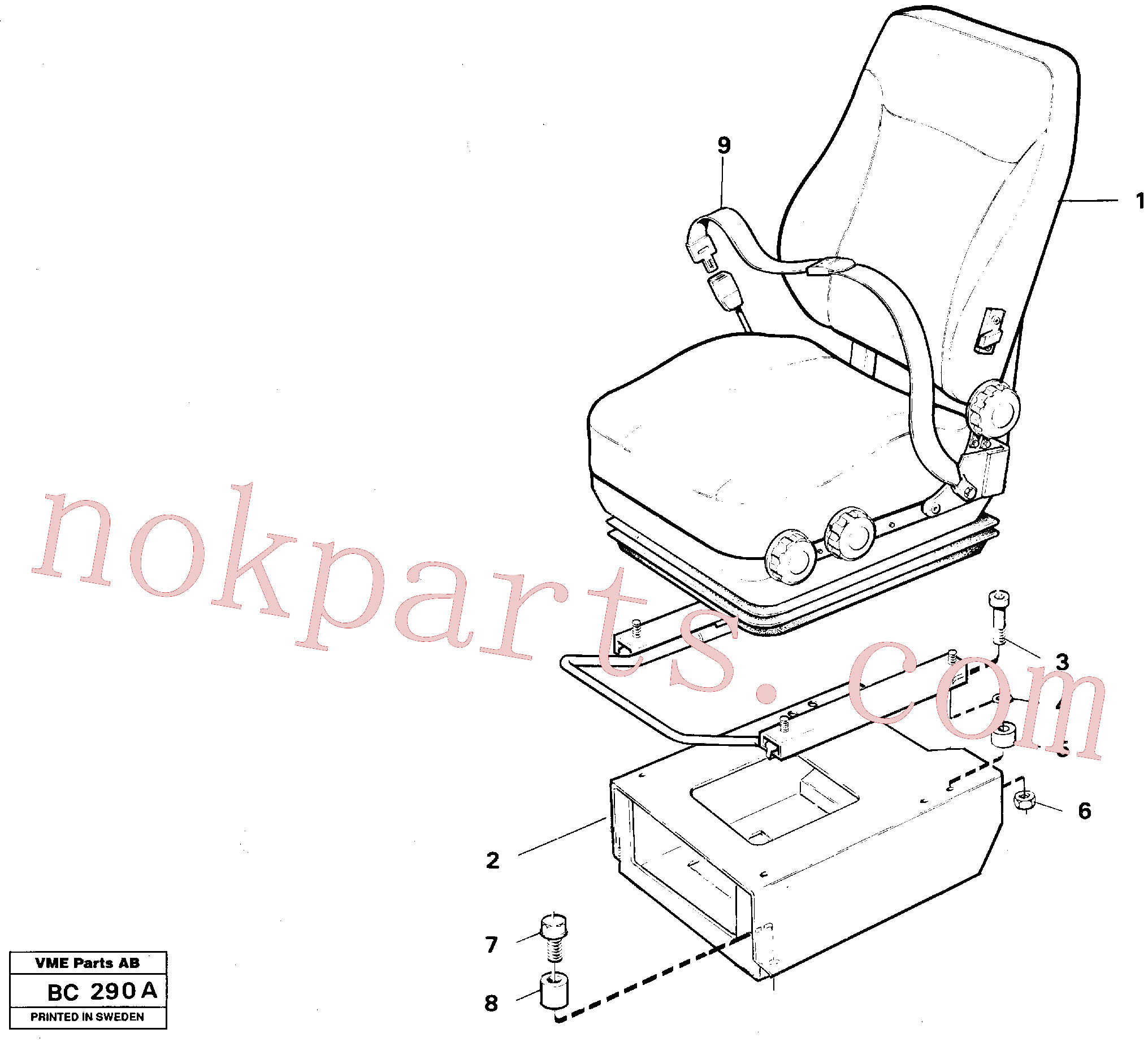 SA9016-10804 for Volvo Operator seat with fitting parts(BC290A assembly)